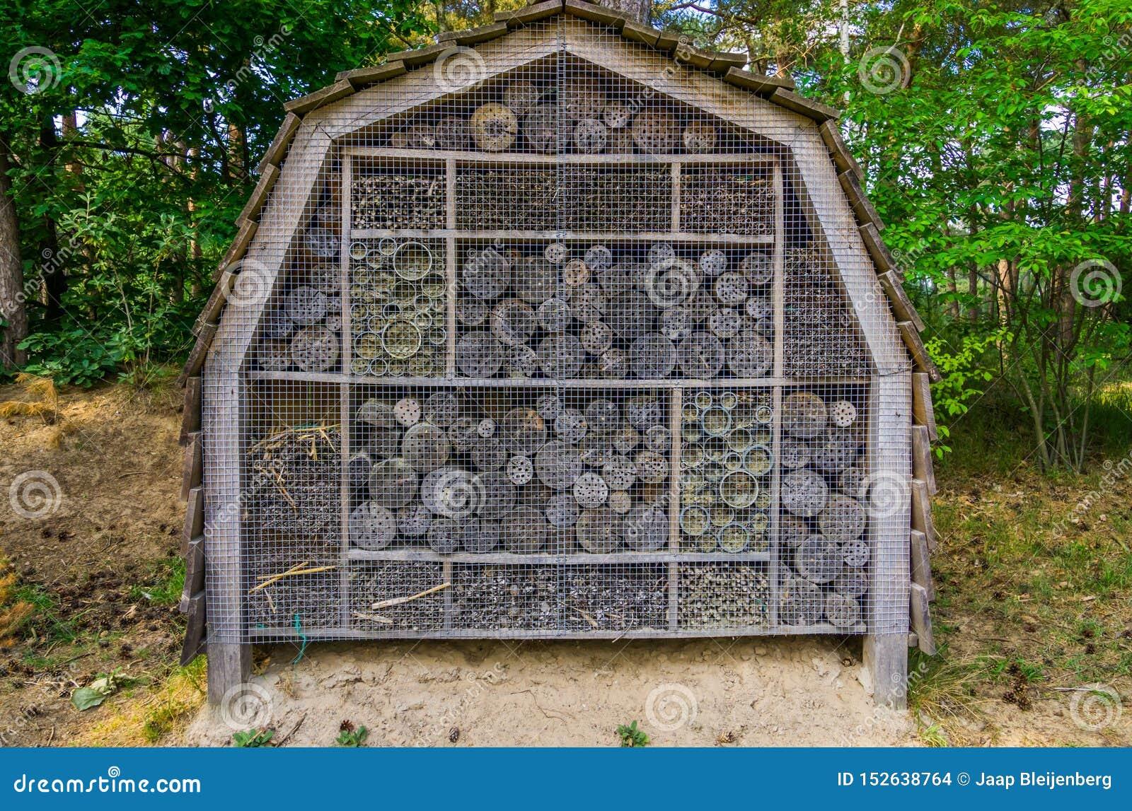 Großes Insektenhotel im Wald, Schutz für die Bienen und andere Insekten