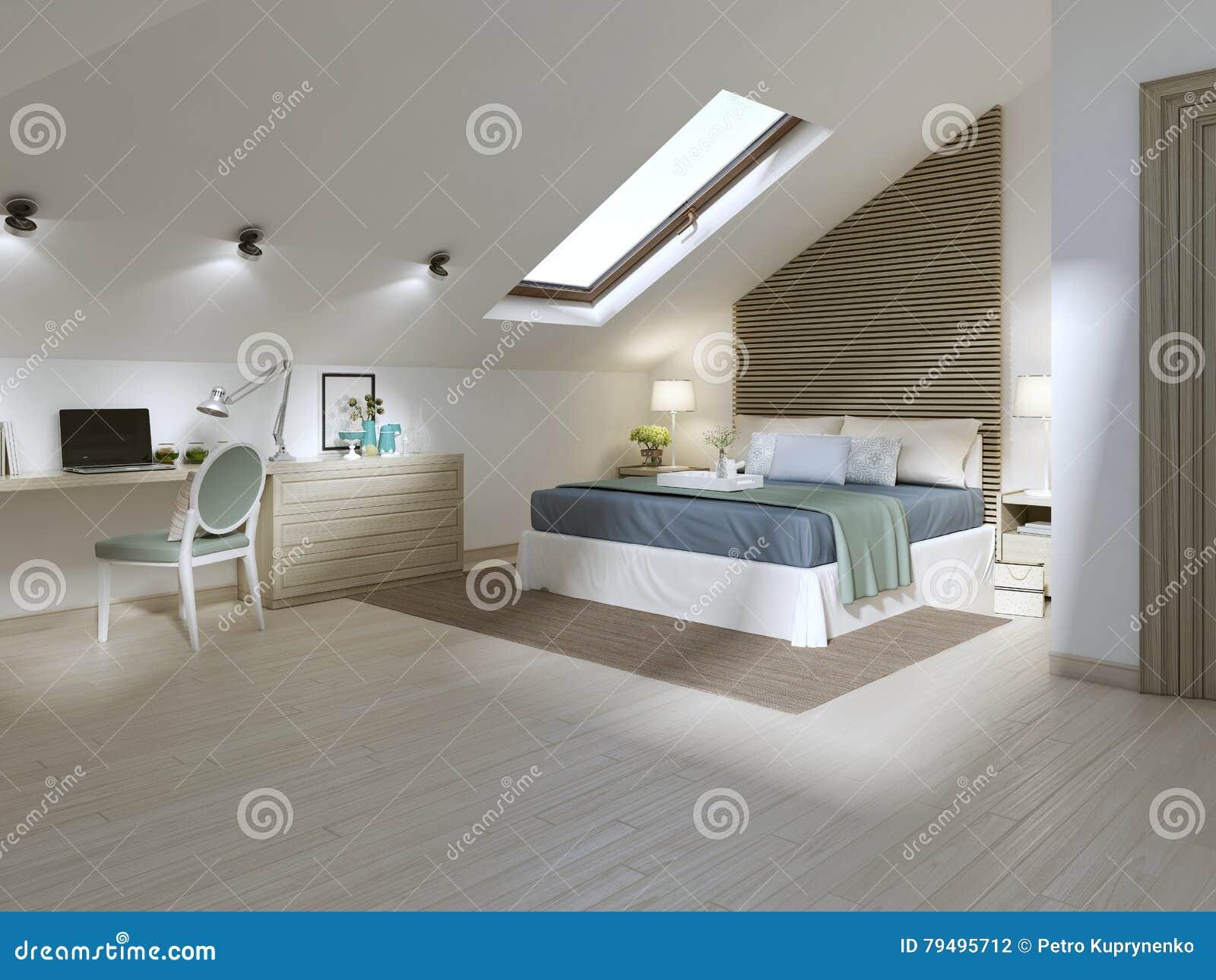 Großes Schlafzimmer   Grosses Schlafzimmer Auf Dem Dachbodenboden In Einer Modernen Art