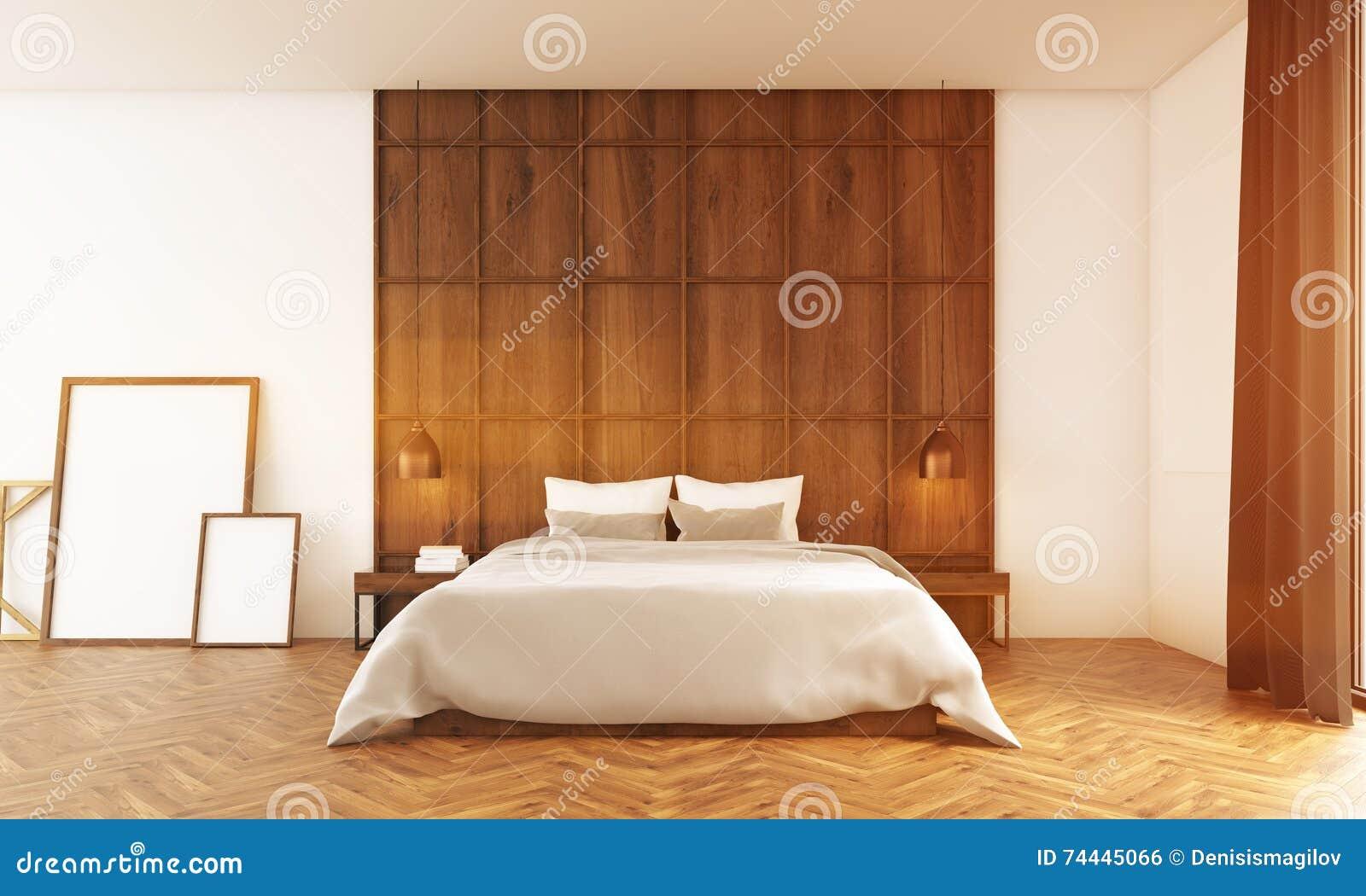 Download Großes Schlafzimmer Mit Poster Nahe Hölzerner Wand Stock Abbildung    Illustration Von Hell, Decke