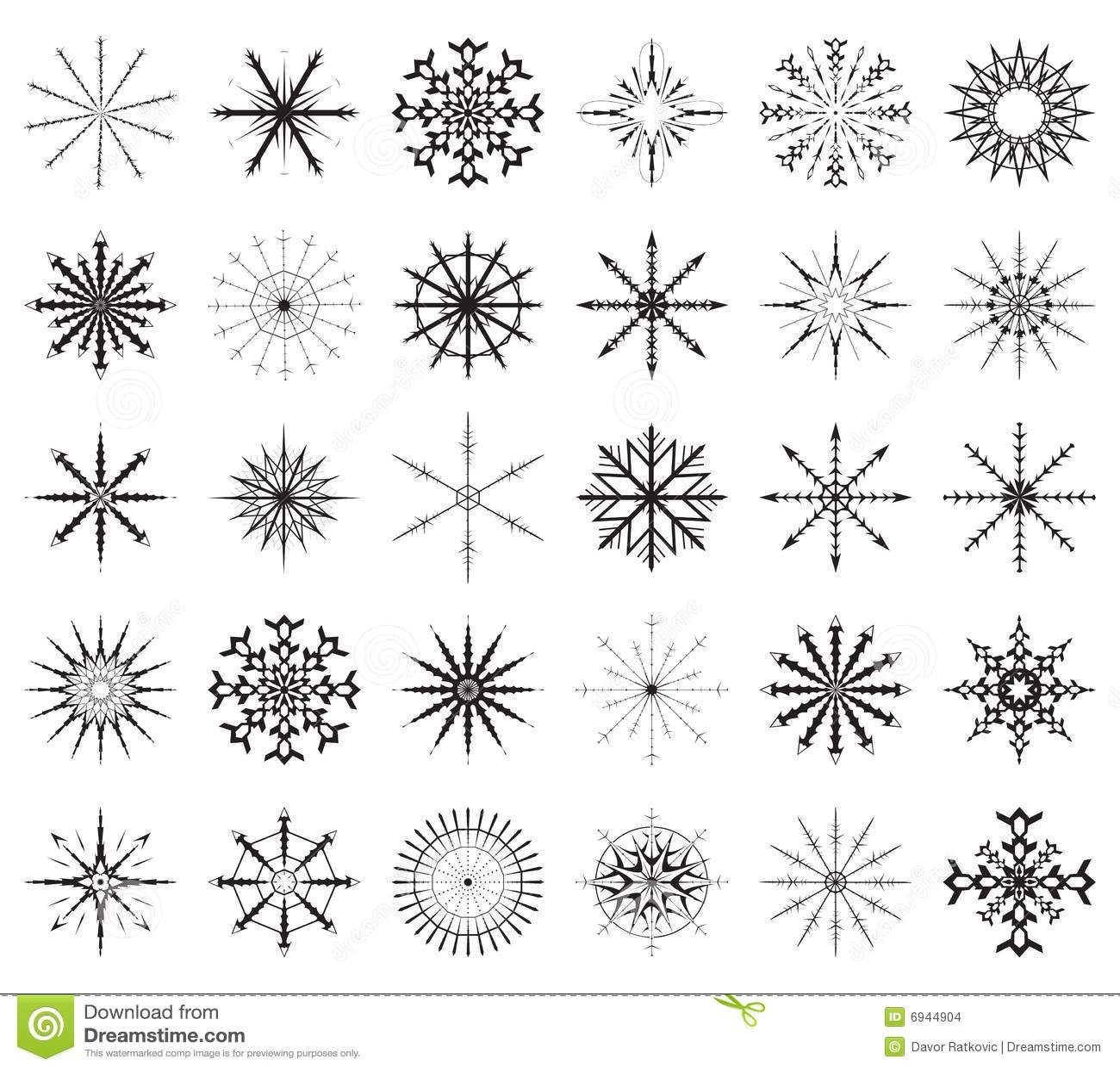 großes set der schneeflocke vektor abbildung