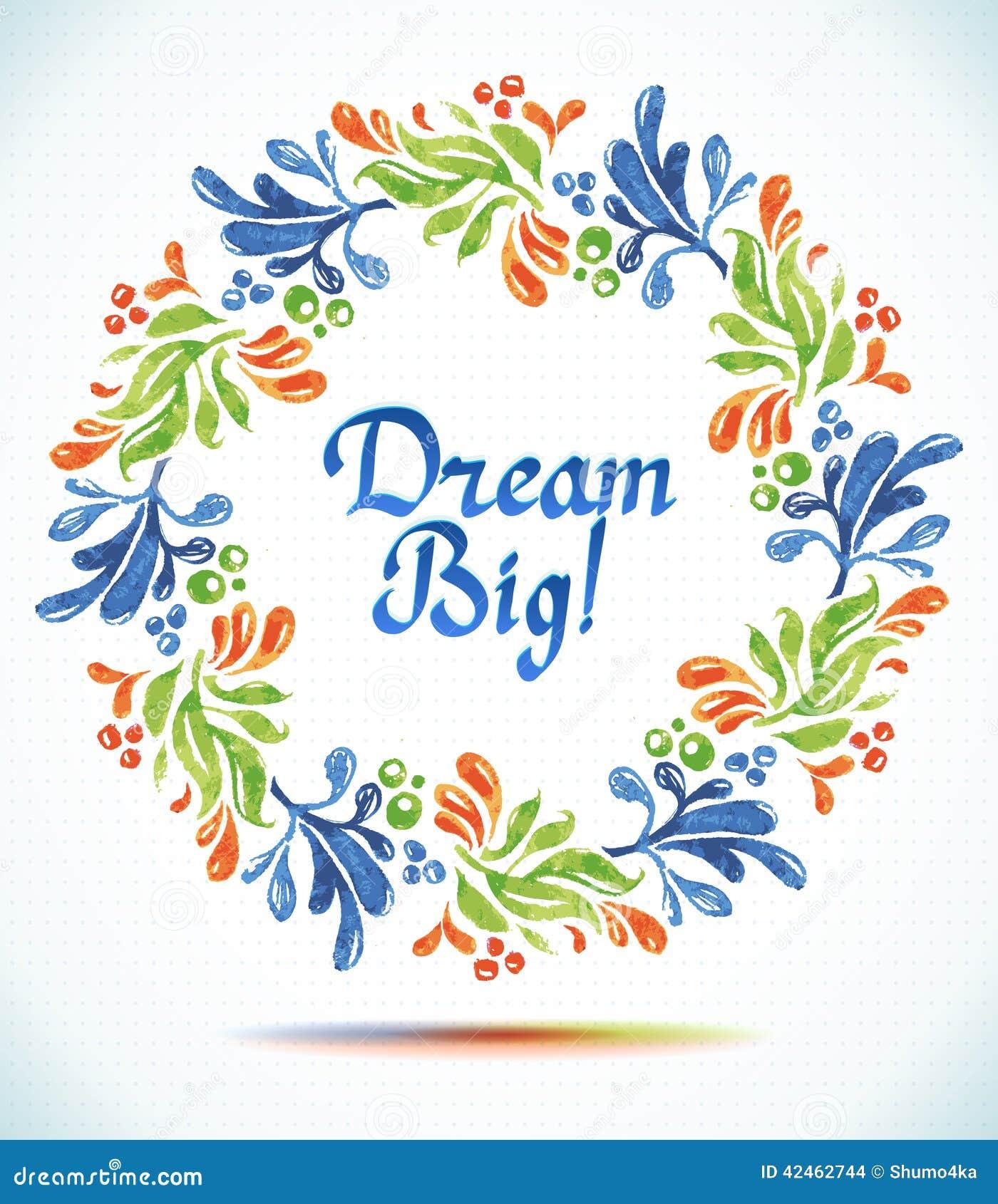 Großes TraumAquarellblumenkranzpapier-Schnittblume Grußkartenhintergrund