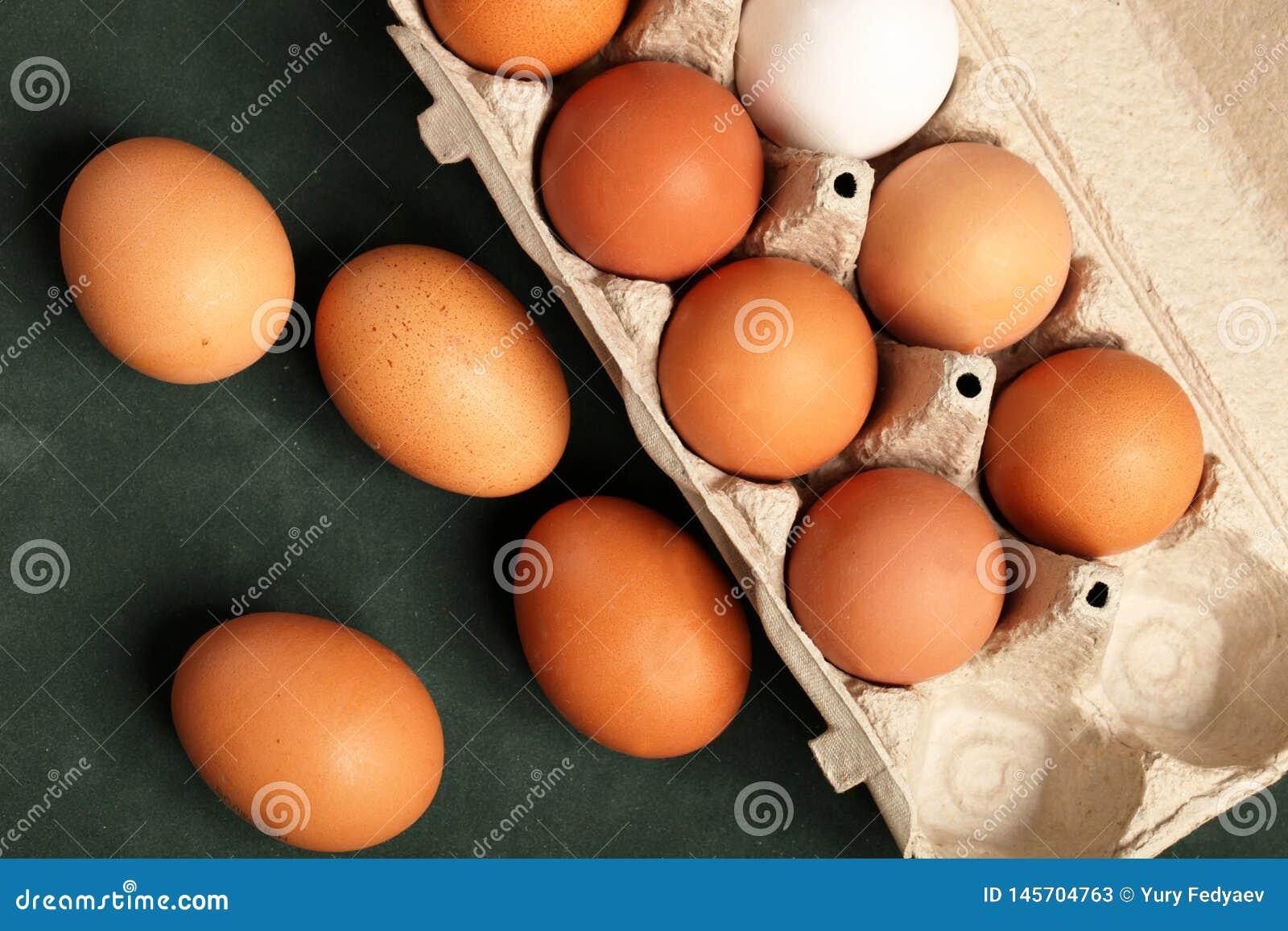Gro?aufnahme von rohen H?hnereien im grauen Kasten, Eiwei?, braunes Ei auf gr?nem Hintergrund