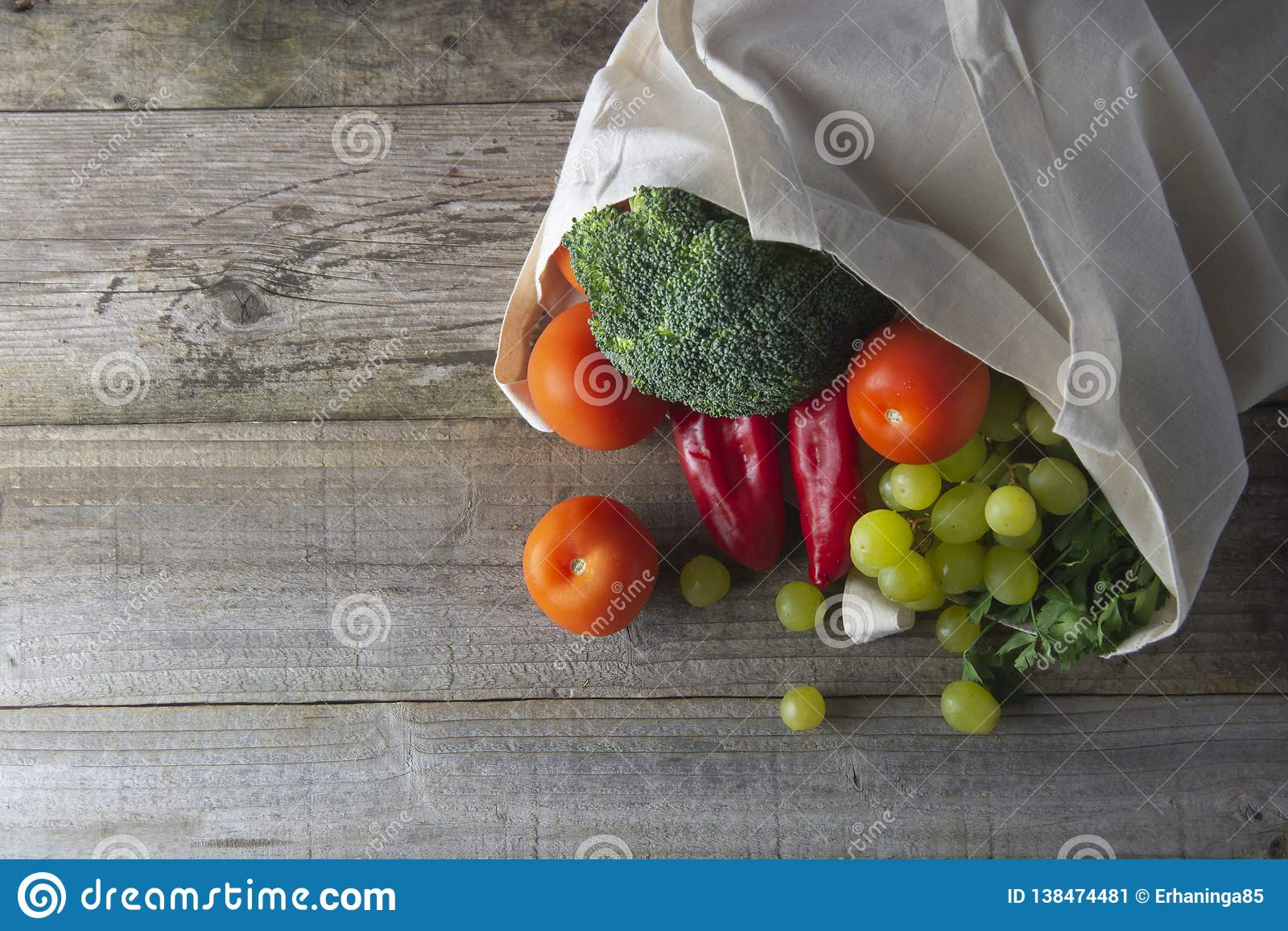 Groceries in eco bag. Eco natural bag with fruits and vegetables. Zero waste food shopping. Plastic free items. reuse, reduce,