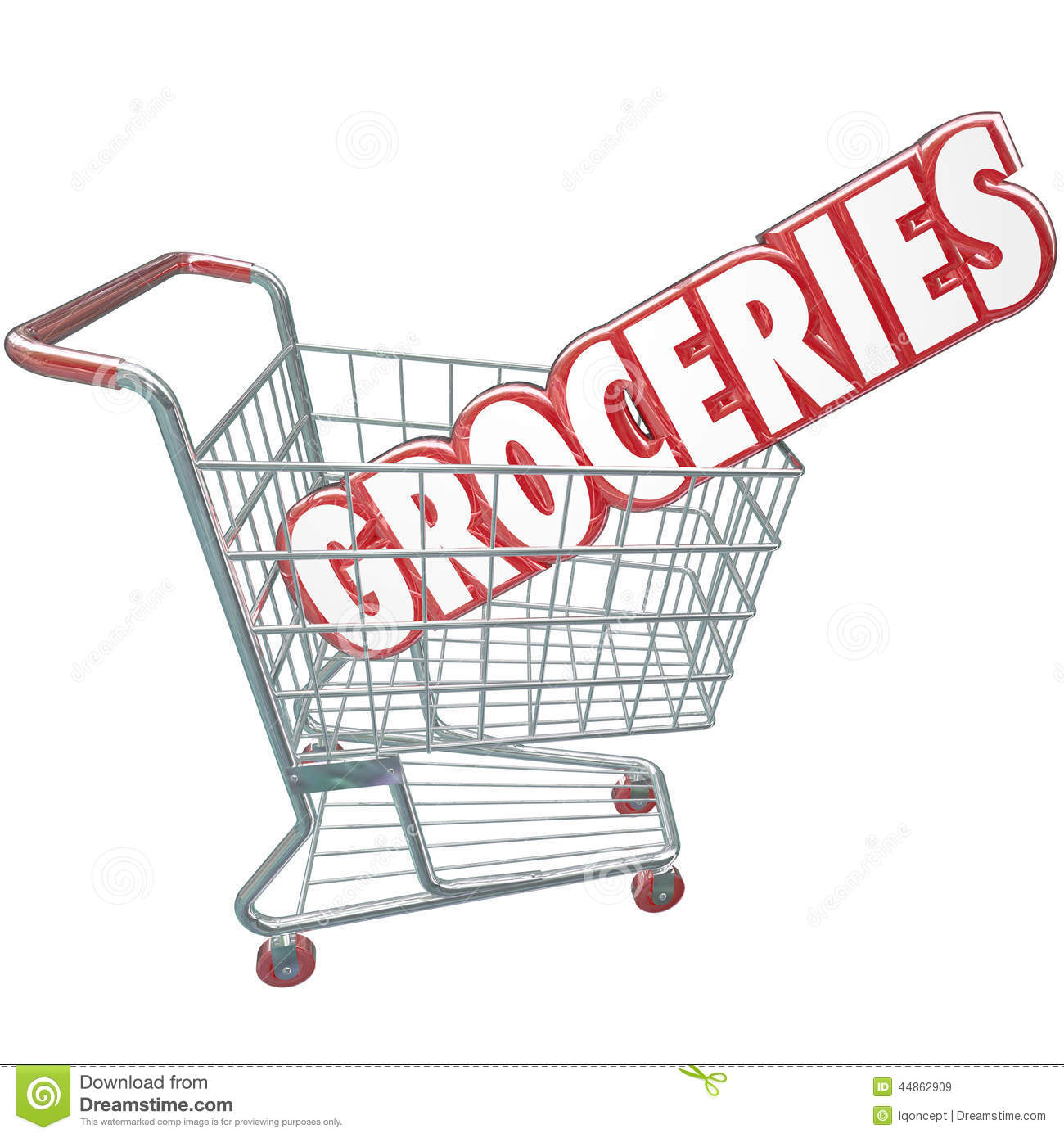 Charming Groceries Shopping Cart Word Store Food Products With Grocery Words