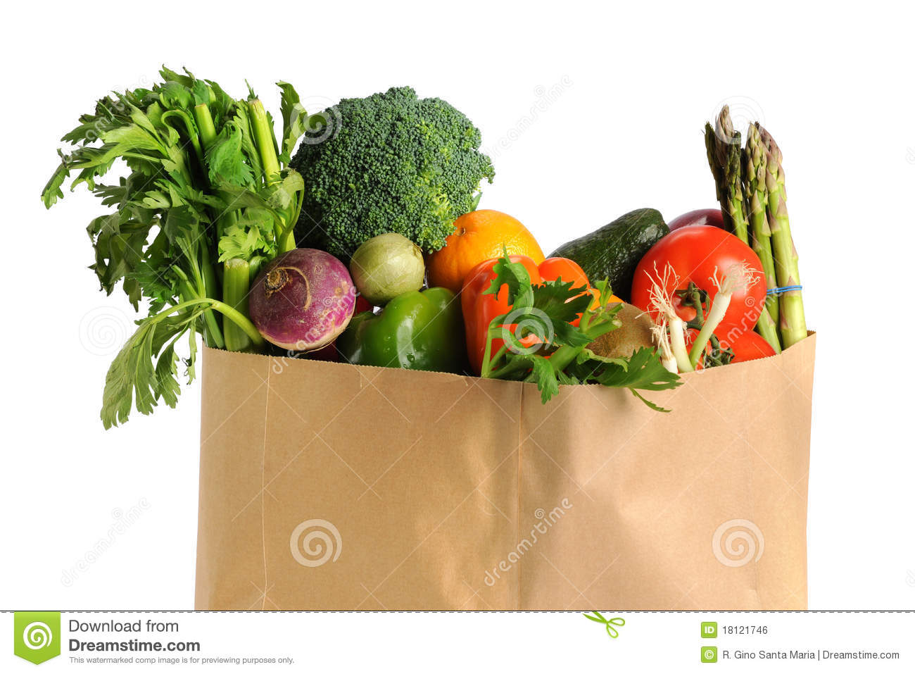 Grocery Bag With Fruits And Vegetables Royalty Free Stock Image ...