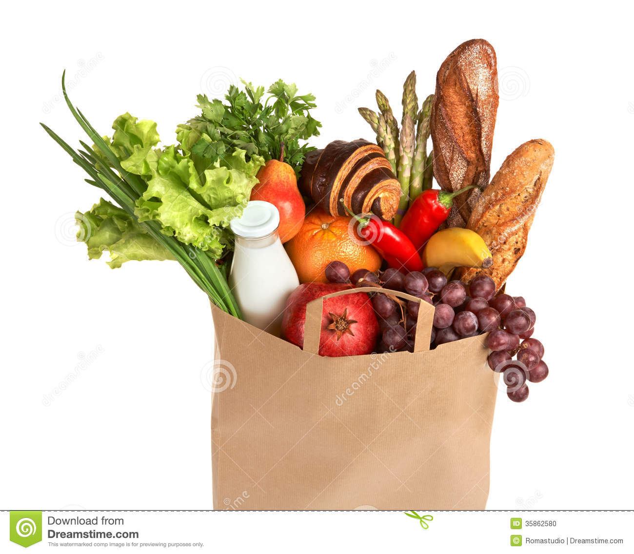 ... of assorted foods in brown grocery bag isolated over white background