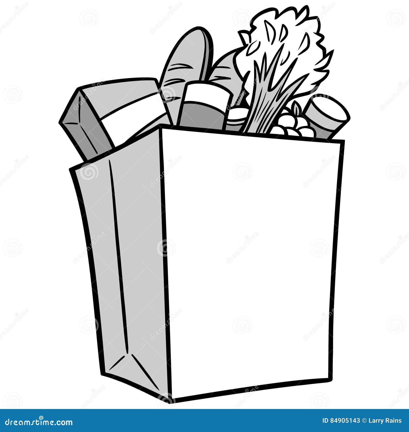 Grocery Bag Illustration stock vector. Illustration of ...
