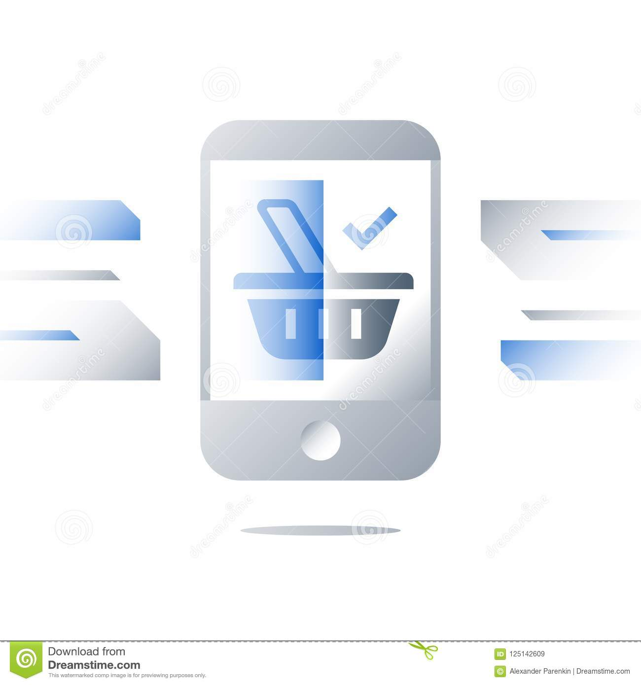 E-commerce Concept, Grocery Basket Symbol On Mobile Phone