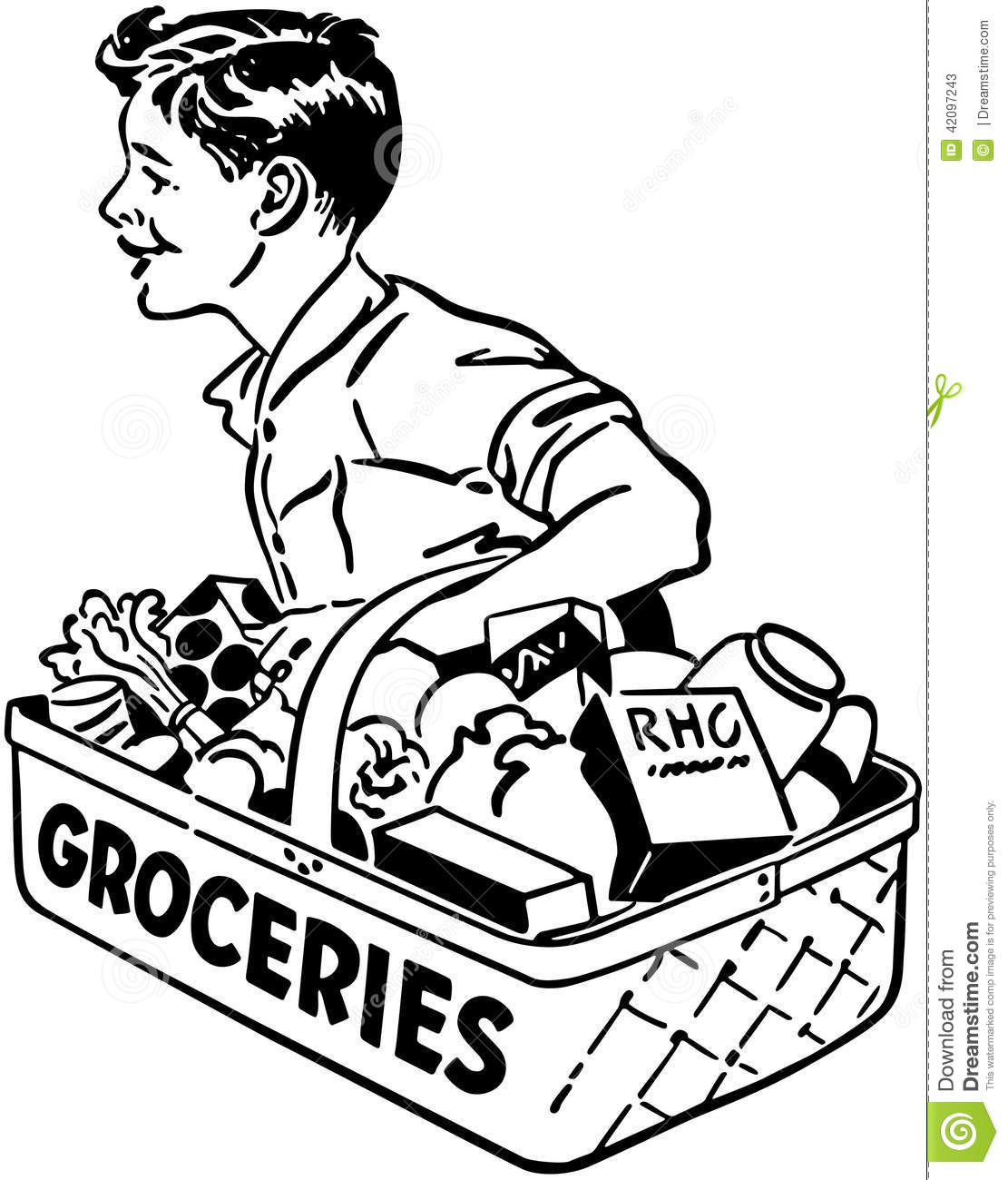 Grocery Delivery Boy Stock Vector Image 42097243