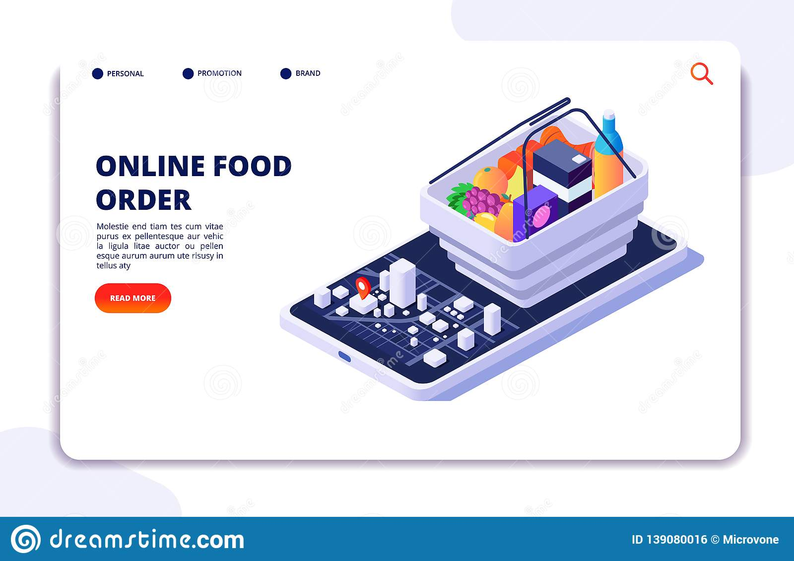 Grocery food delivery isometric concept. Online order with mobile phone app. Internet food restaurant vector banner or