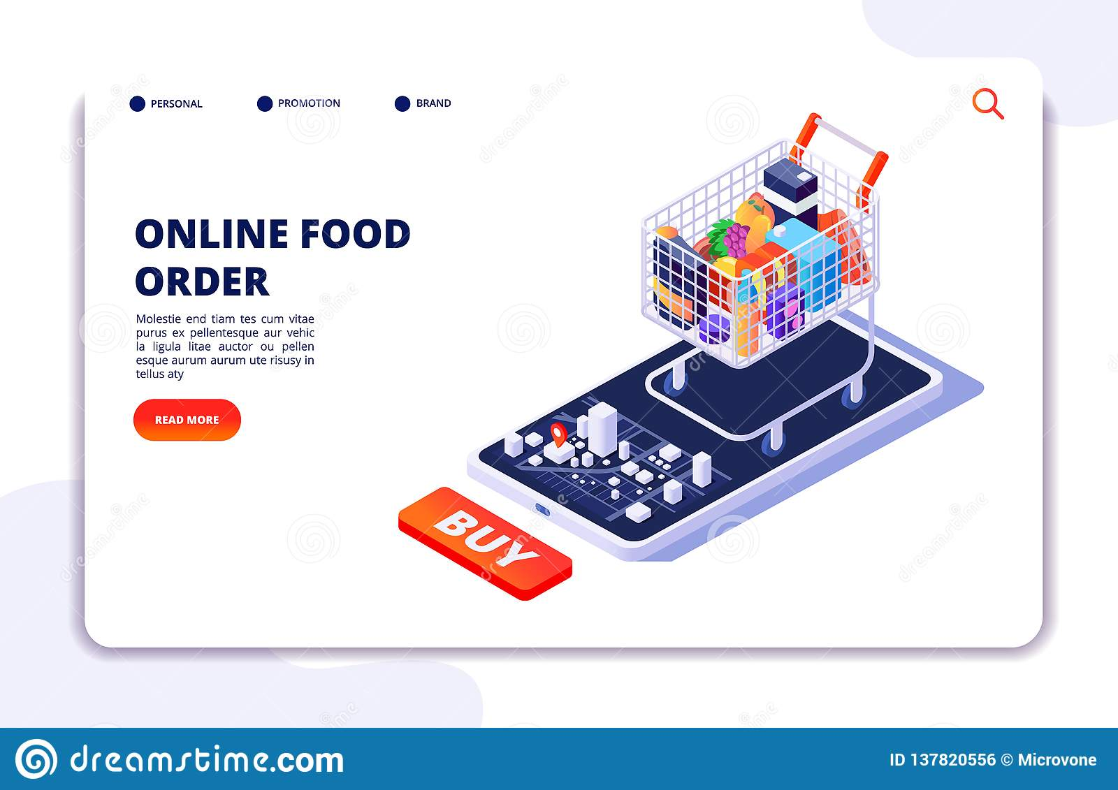Grocery food delivery. Online order with mobile app. Internet food restaurant isometric concept
