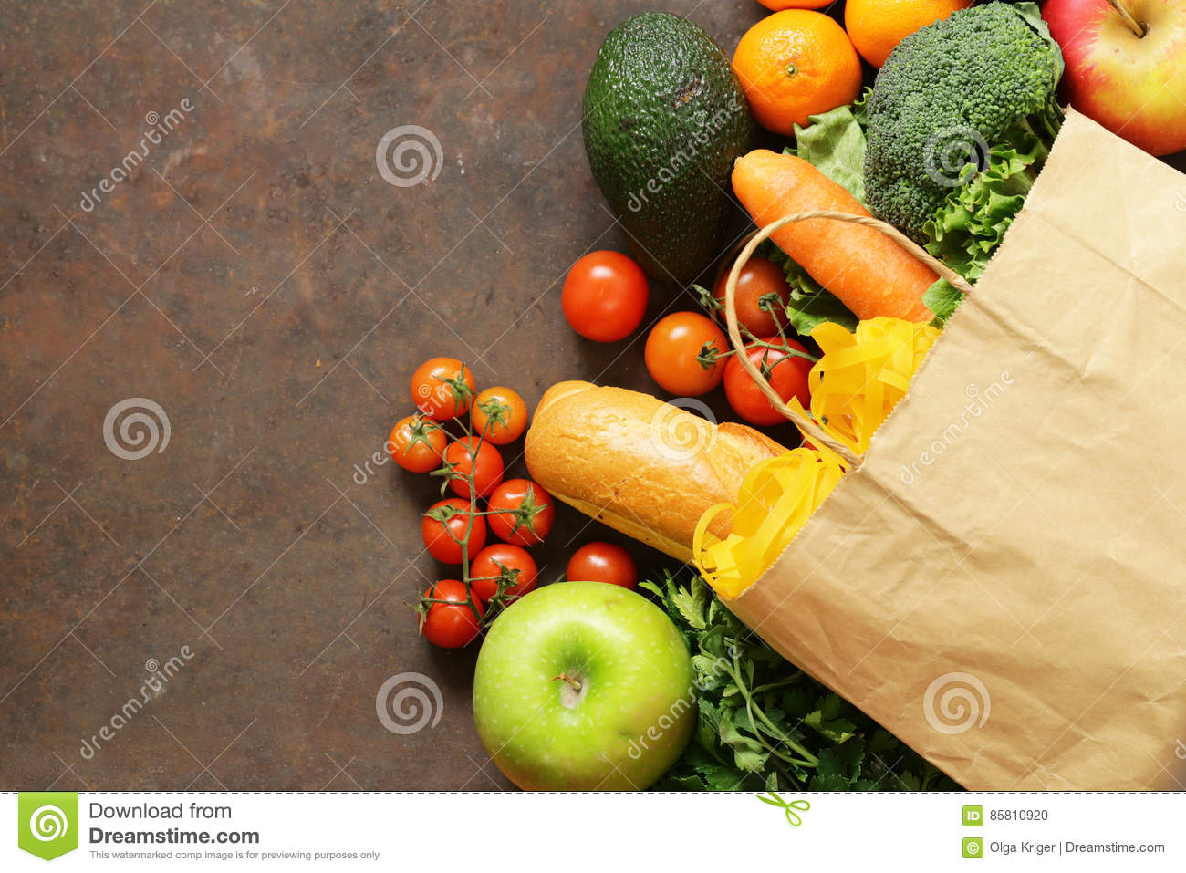 Grocery food shopping bag - vegetables, fruits, bread