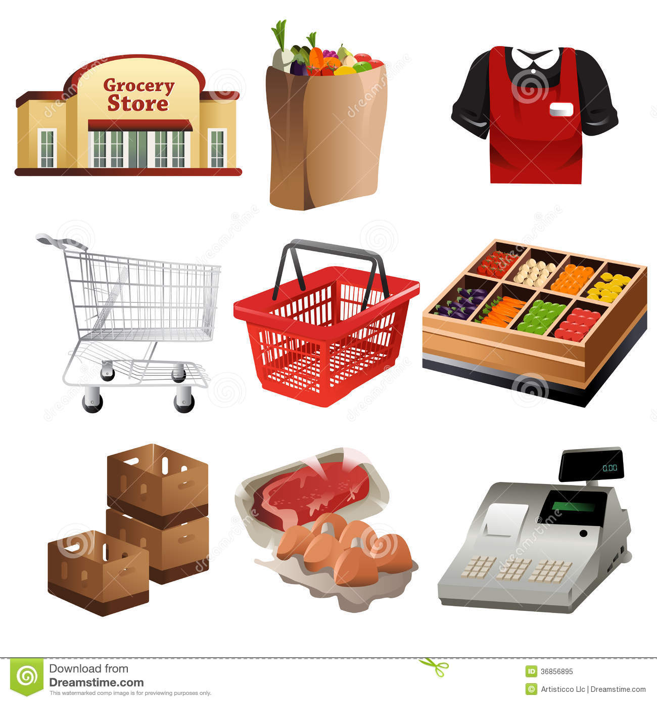 Grocery Icons Royalty Free Stock Photo - Image: 36856895