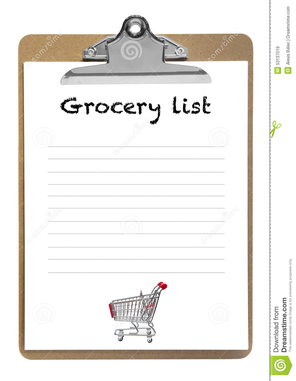 Groceries List Clip Art grocery list stock photo - image: 53137519