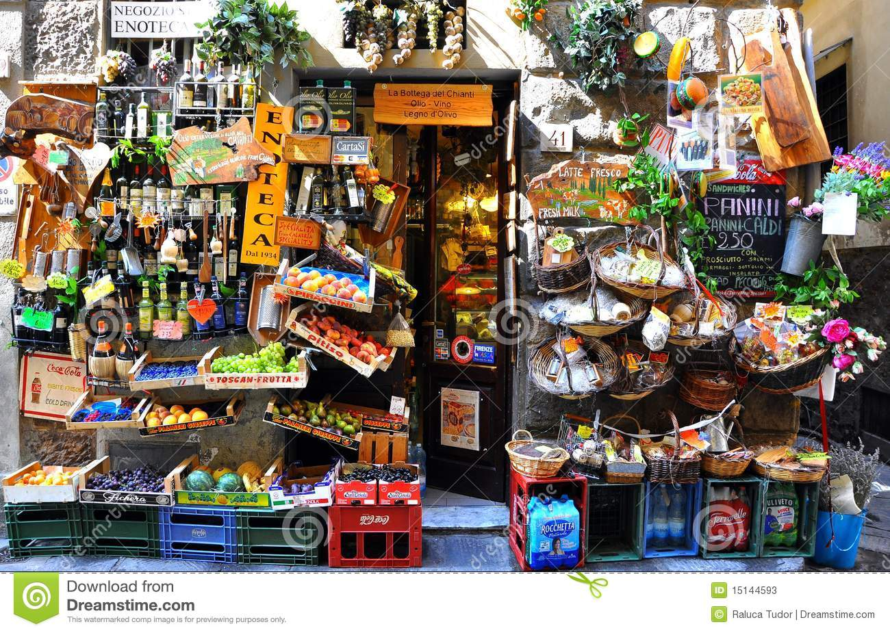Typical Grocery Shop In Florence City Italy Editorial