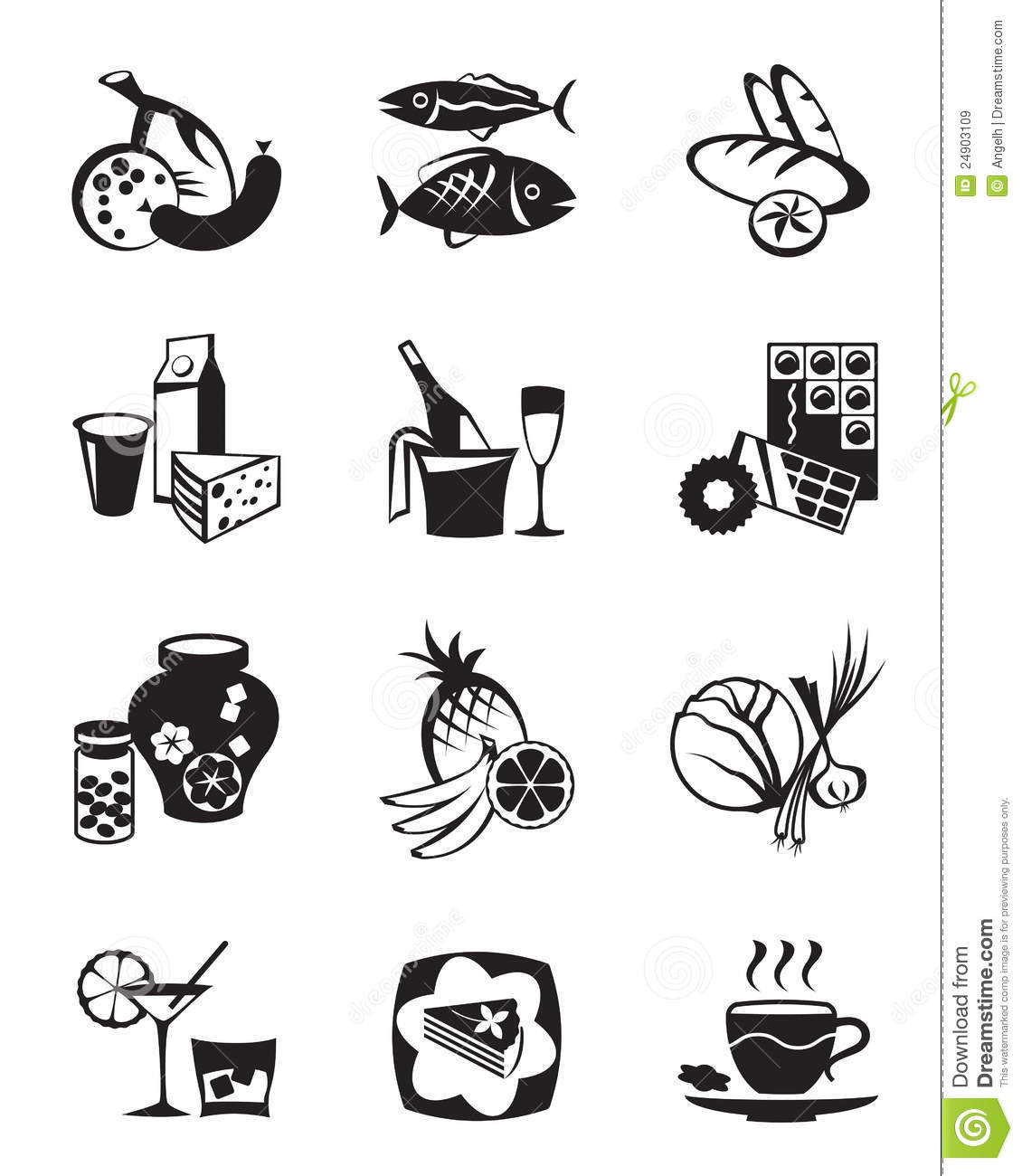 Grocery store icons se...