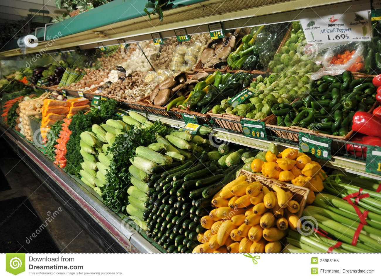 Grocery Store Produce Section Display Stock Image - Image ...