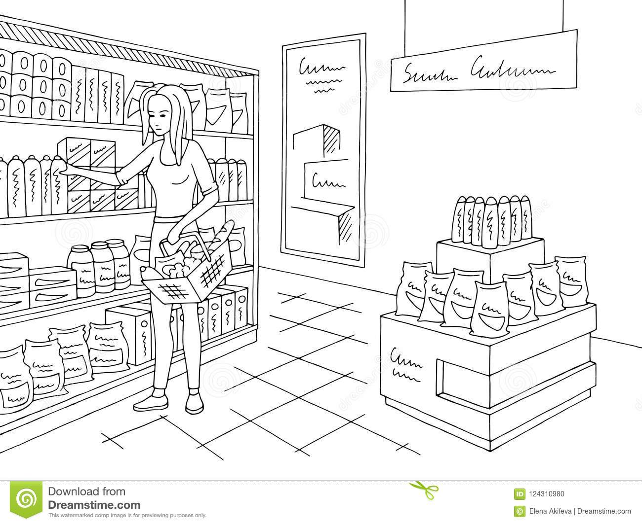Grocery Store Shop Interior Black White Graphic Sketch ...