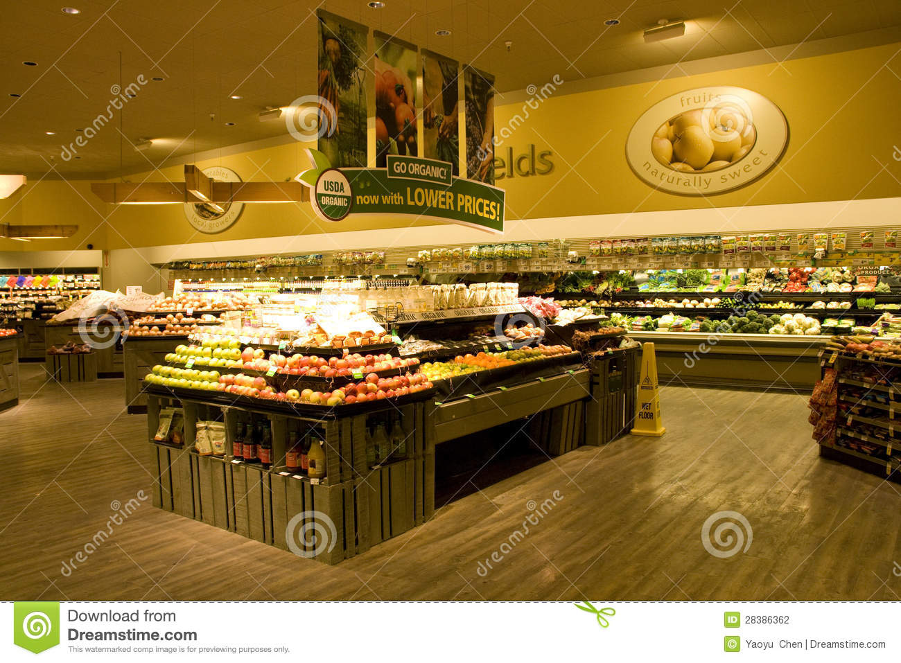 well organized grocery store with nice interiors and wooden floor ...