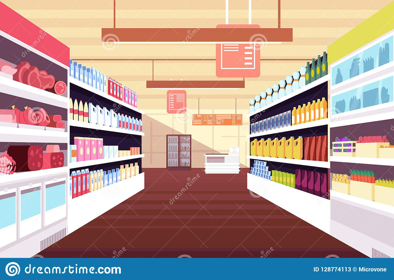 Grocery supermarket interior with full product shelves. Retail and consumerism vector concept