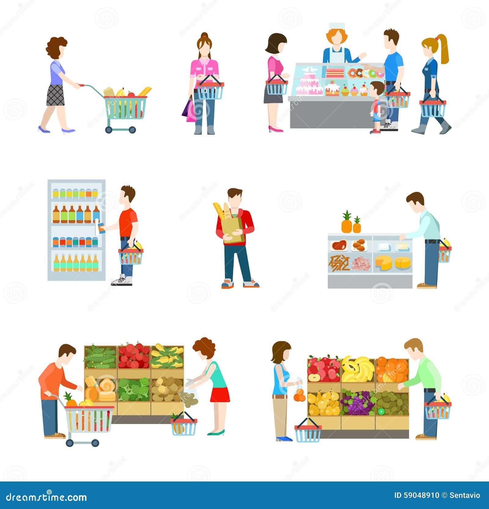 Grocery Supermarket Store Shoppers Buyers Vegetable Fruit Stock Vector Illustration 59048910