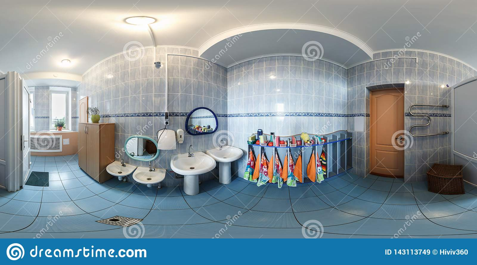 GRODNO, BELARUS - APRIL, 2016: Full seamless panorama 360 angle degrees inside interior small bathroom in vintage kindergarten in