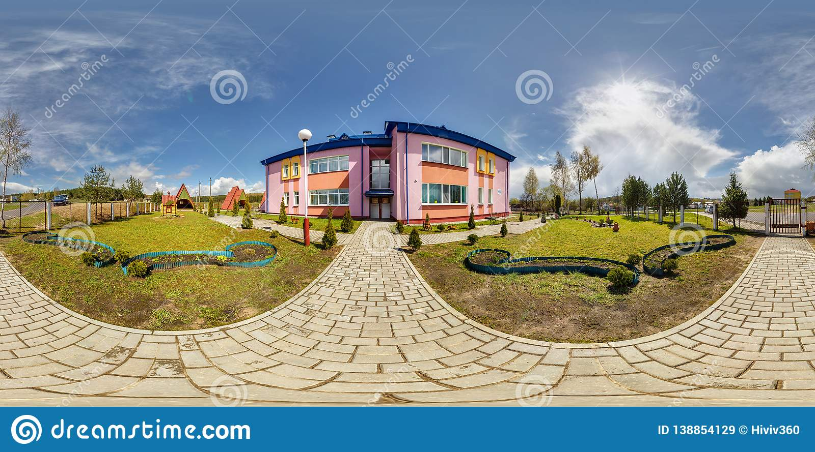 GRODNO, BELARUS -APRIL, 2016: Full seamless panorama 360 angle degrees view outside modern kindergarten in sunny summer day in