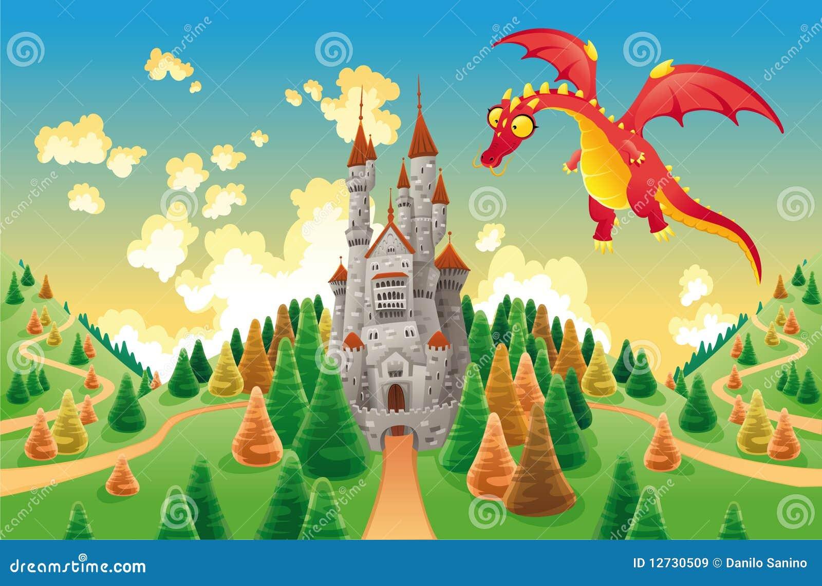 Grodowego smoka średniowieczna panorama