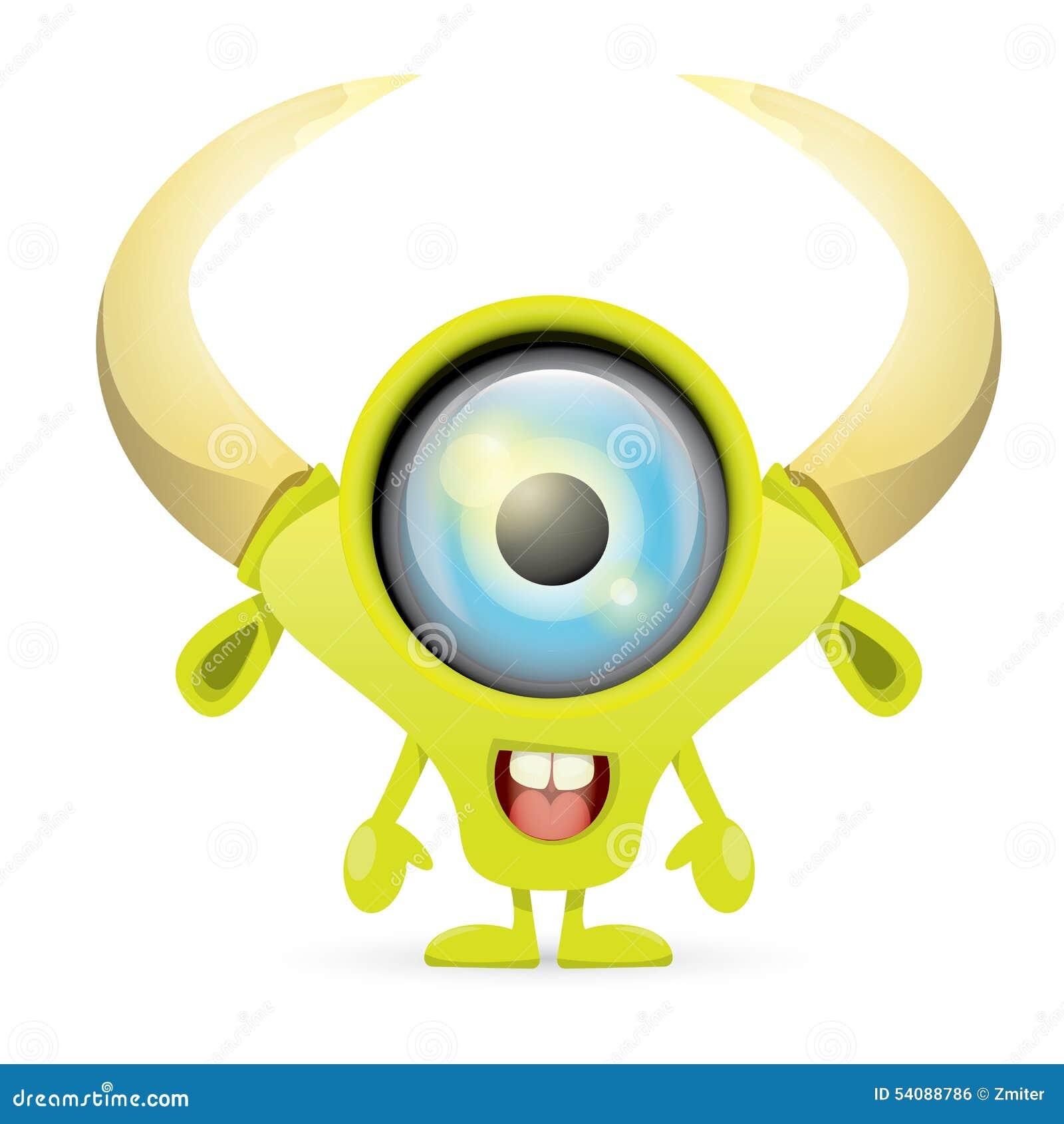 Groen Beeldverhaal leuk monster