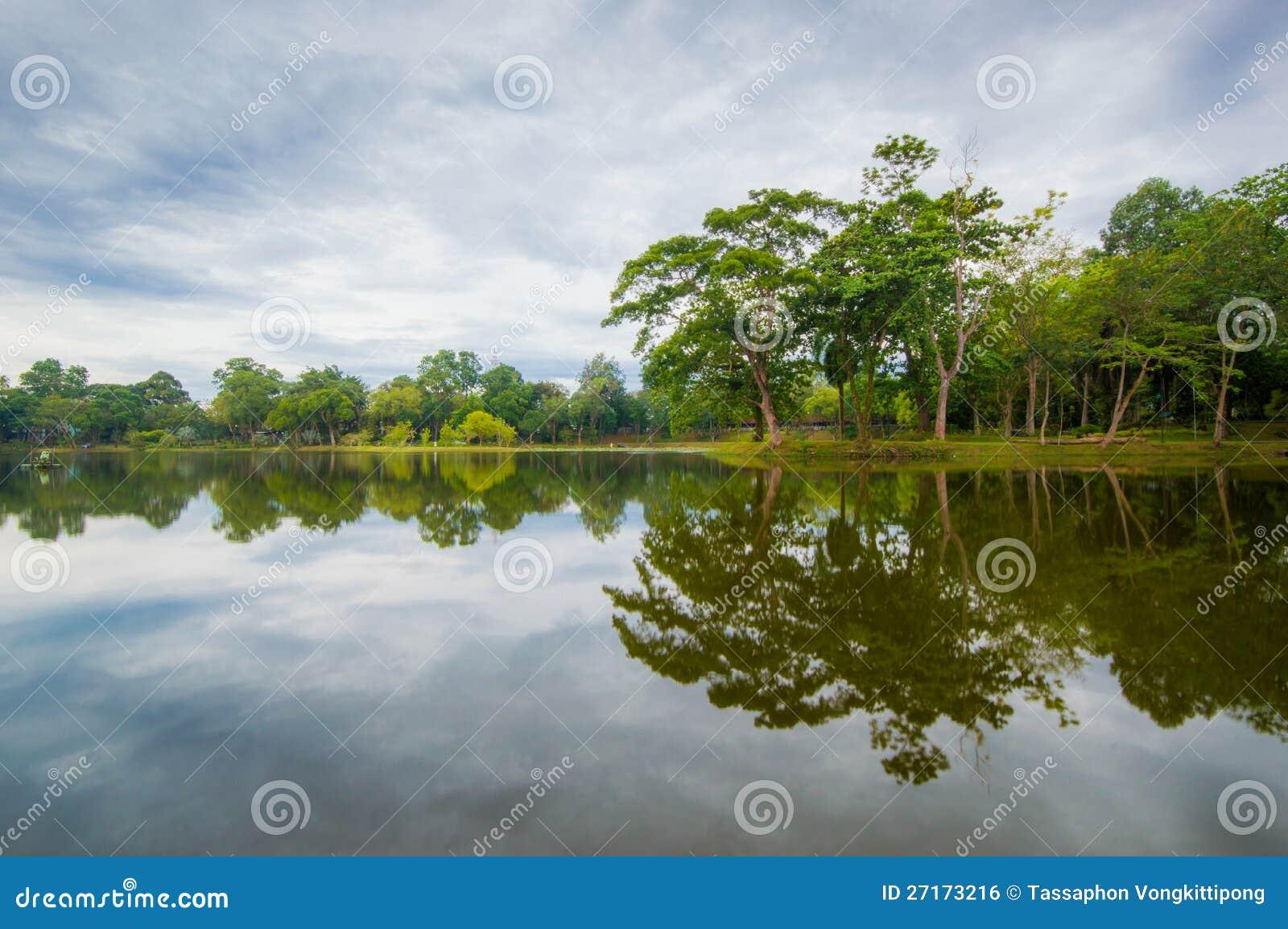 Groen boompark met bezinning over het water stock foto afbeelding 27173216 - Groen behang van het water ...