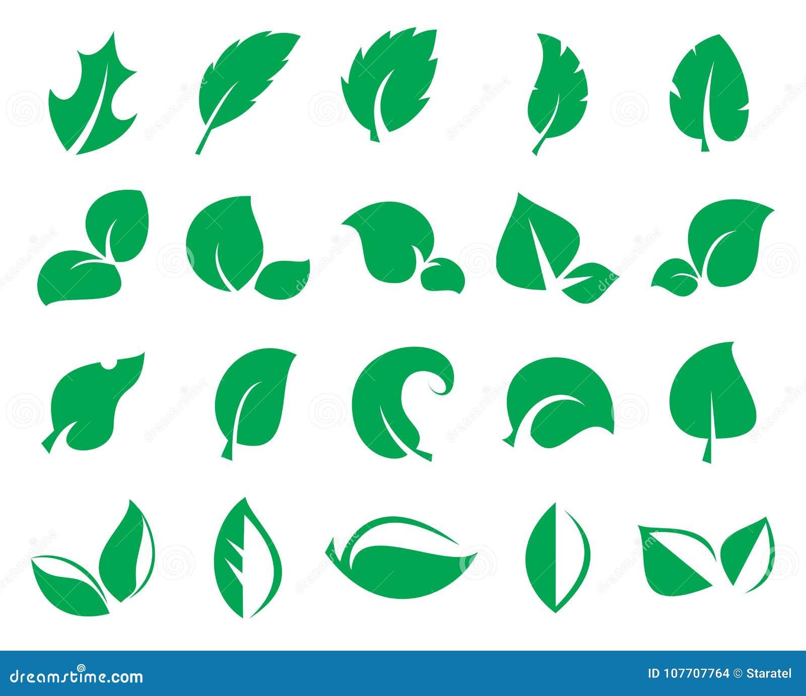 Groen die blad iconss op een witte achtergrond wordt geïsoleerd