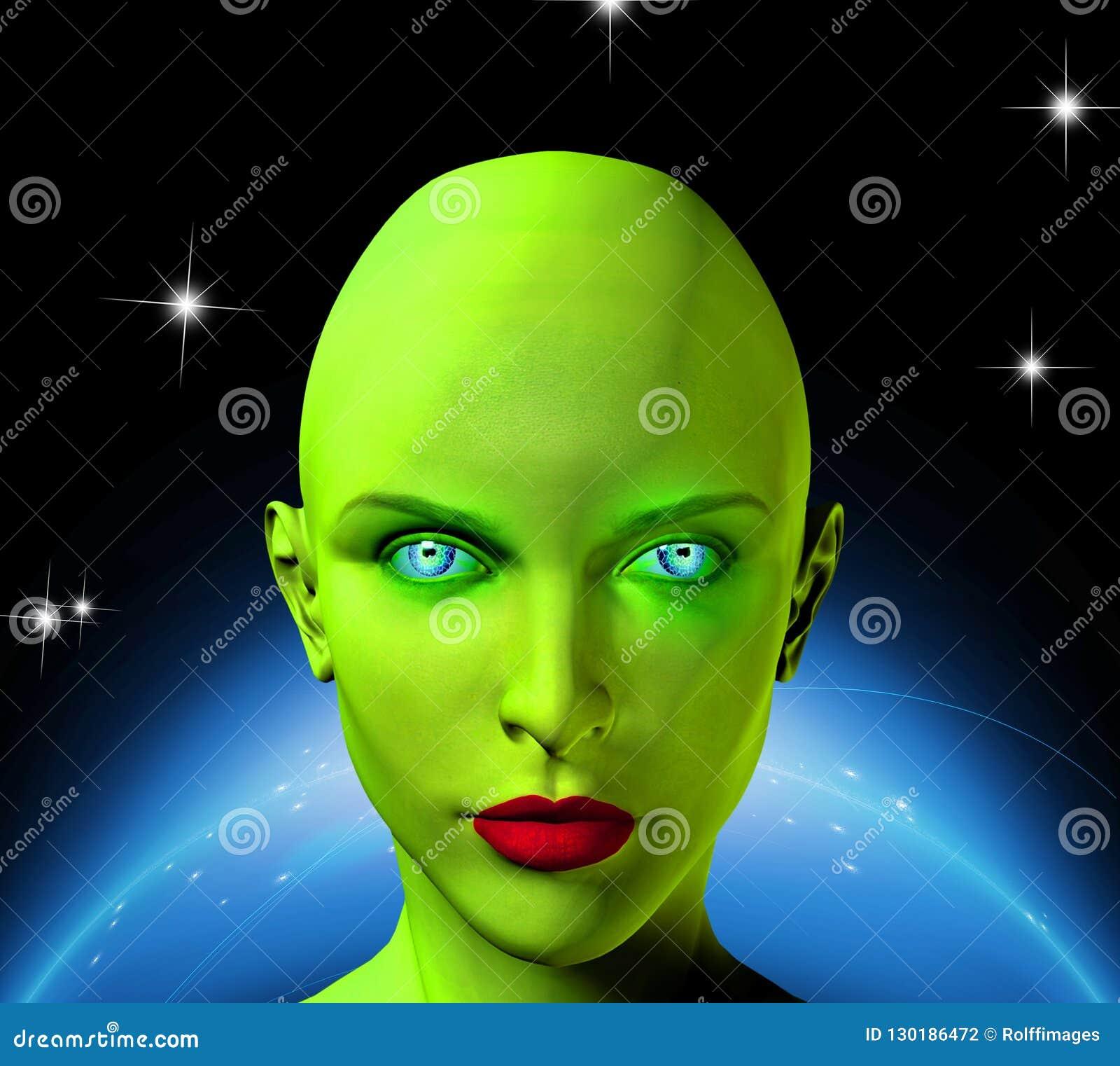 Groen gezicht van een vreemdeling