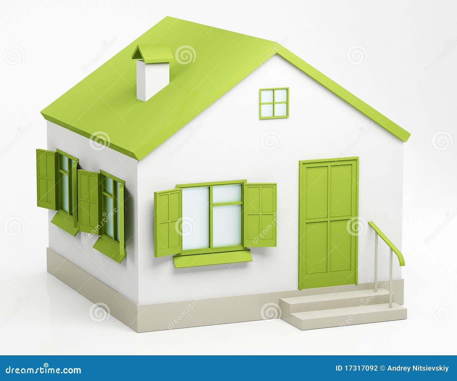 Groen huis stock fotografie beeld 17317092 - Groen huis model ...