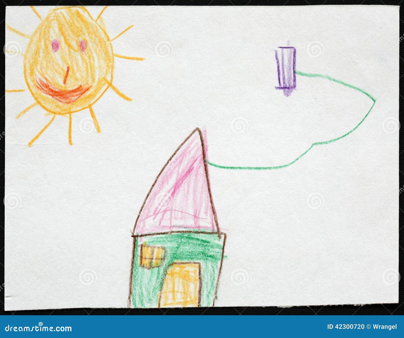 Groen huis onder de zon de tekening van het kind stock foto afbeelding 42300720 - Groen behang van het water ...