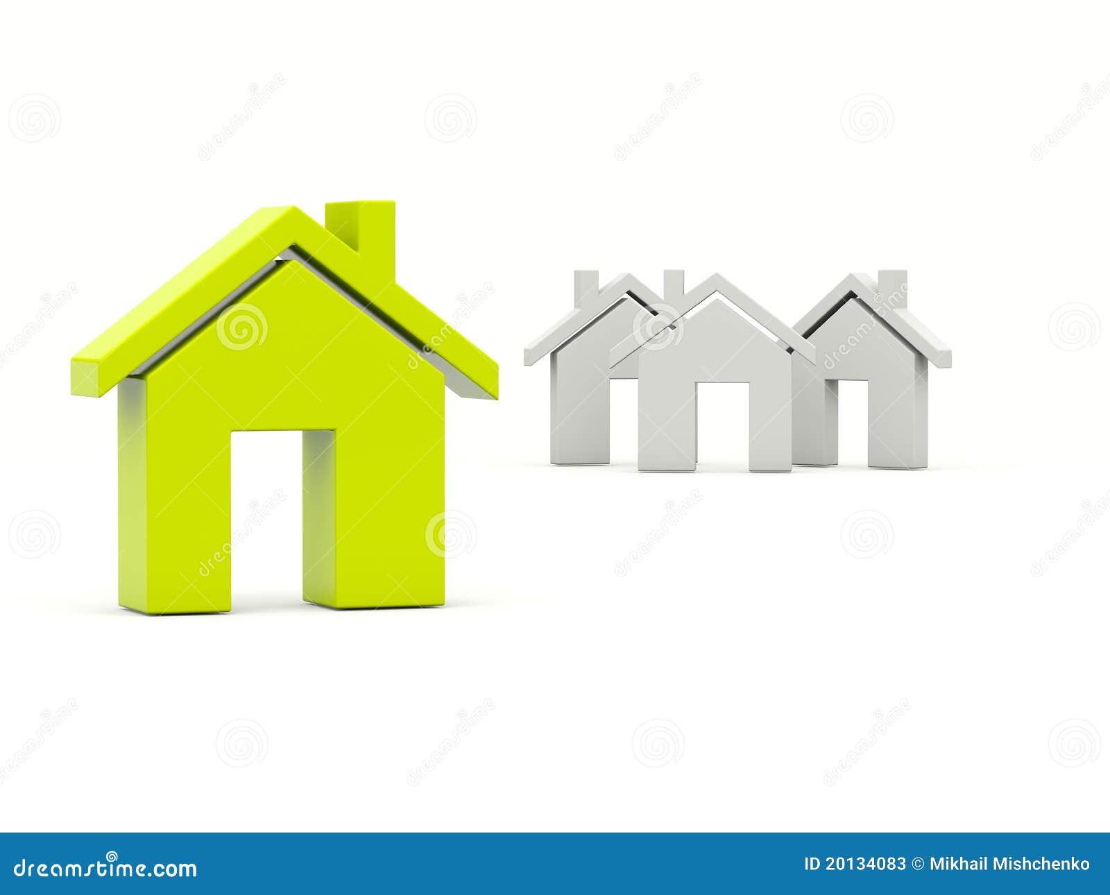 Groen huis over grijze huizen stock illustratie afbeelding 20134083 - Groen huis model ...