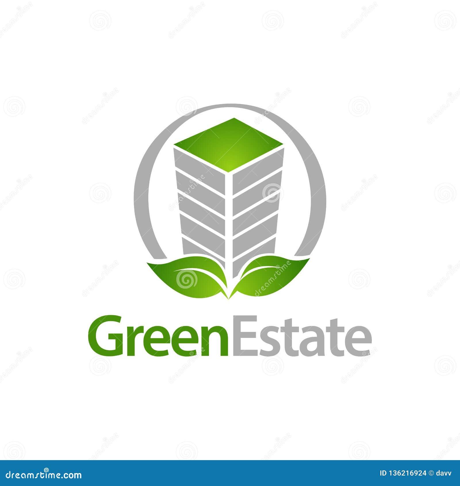 Groen Landgoed De cirkelbouw met de ontwerpsjabloon van het het embleemconcept van het bladpictogram