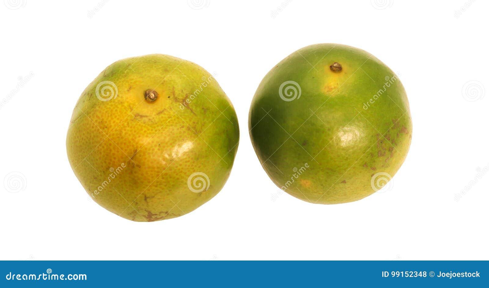 Groen Thais oranje fruit Twee met groen blad