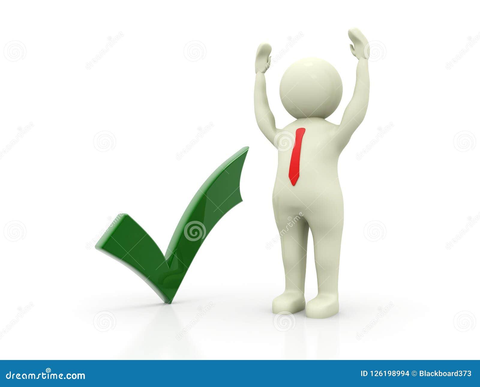 Groen Vinkje met de Bedrijfsmens op witte achtergrond 3d geef terug