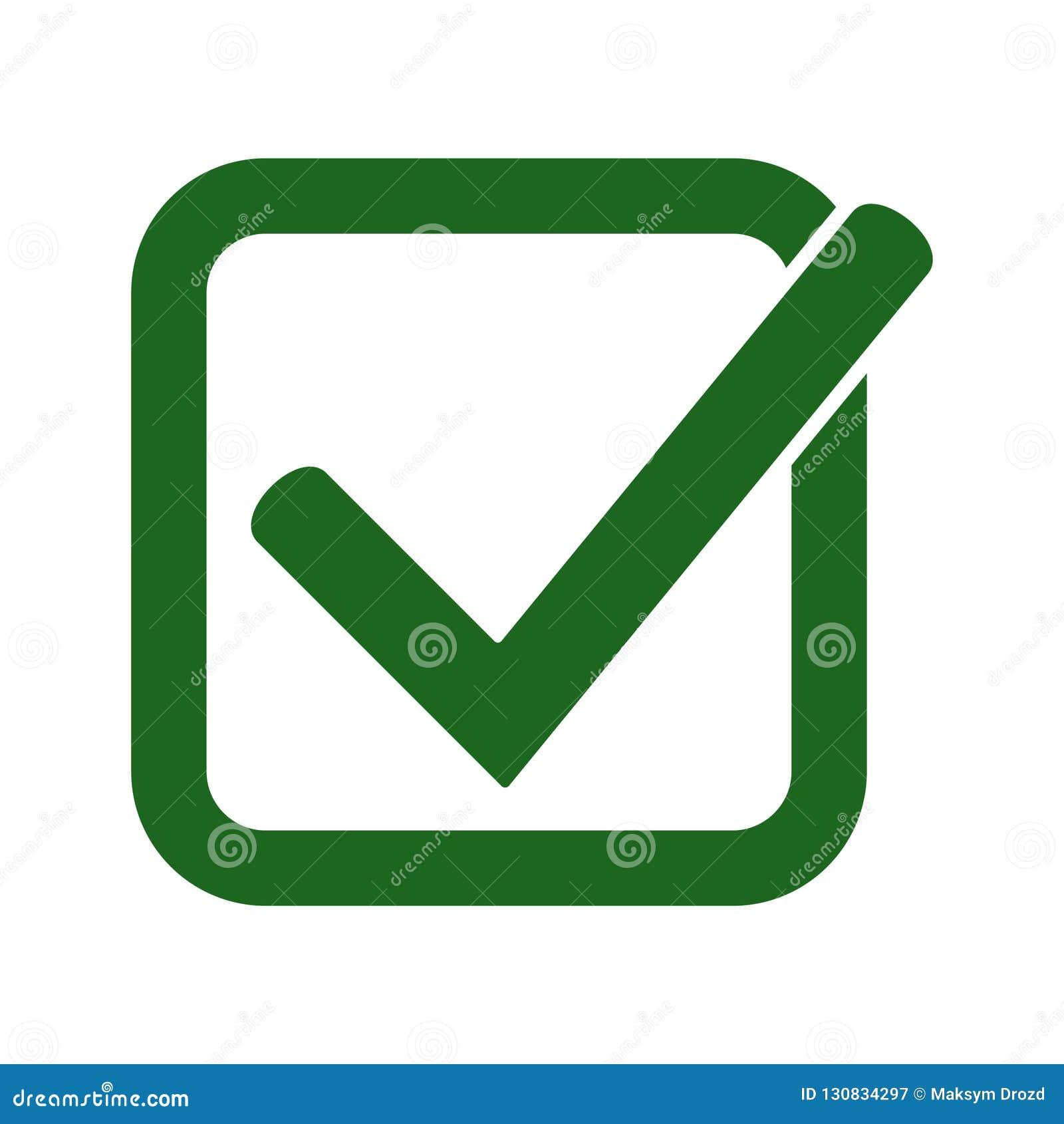 Groen vinkjepictogram Tiksymbool in groene kleur, vectorillustratie