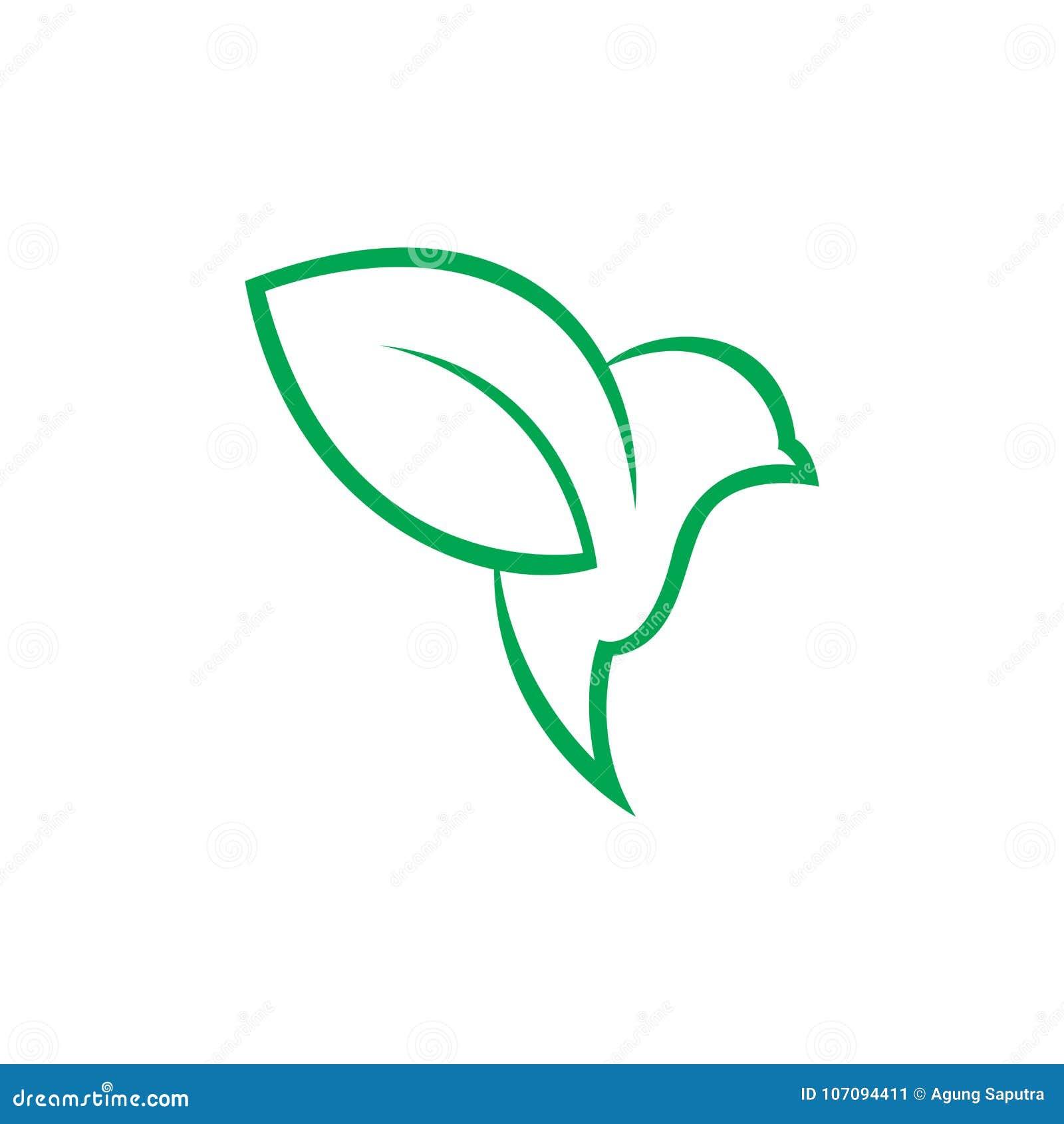 Groen vogel en bladembleemontwerp