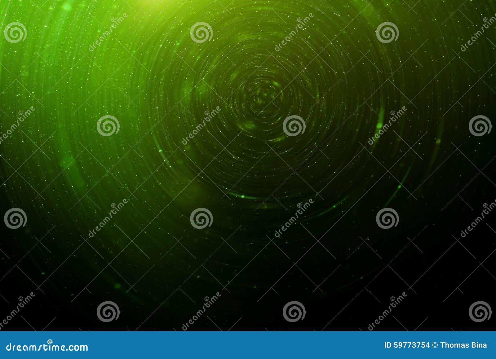 Groene Abstracte science fiction futuristische achtergrond, vage stralende sterren in ruimte