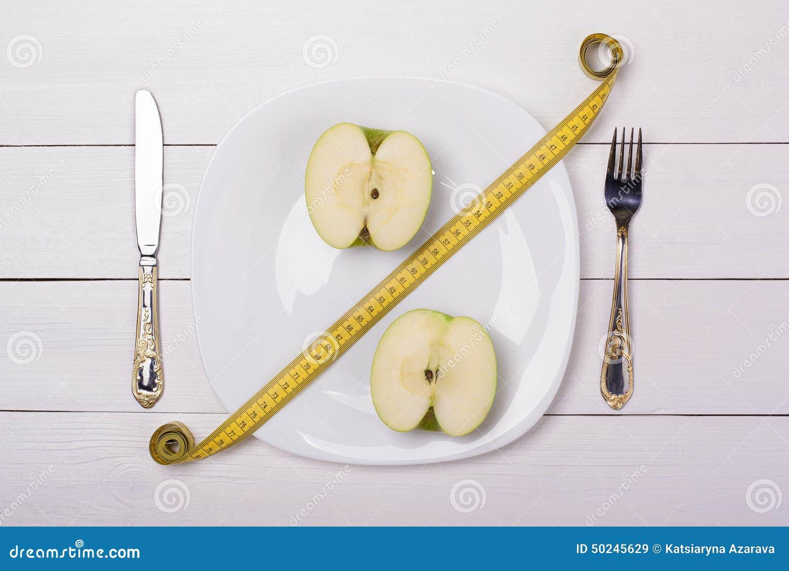 Groene appel met het meten van band op een plaat met mes en vork Verkoop, percenten