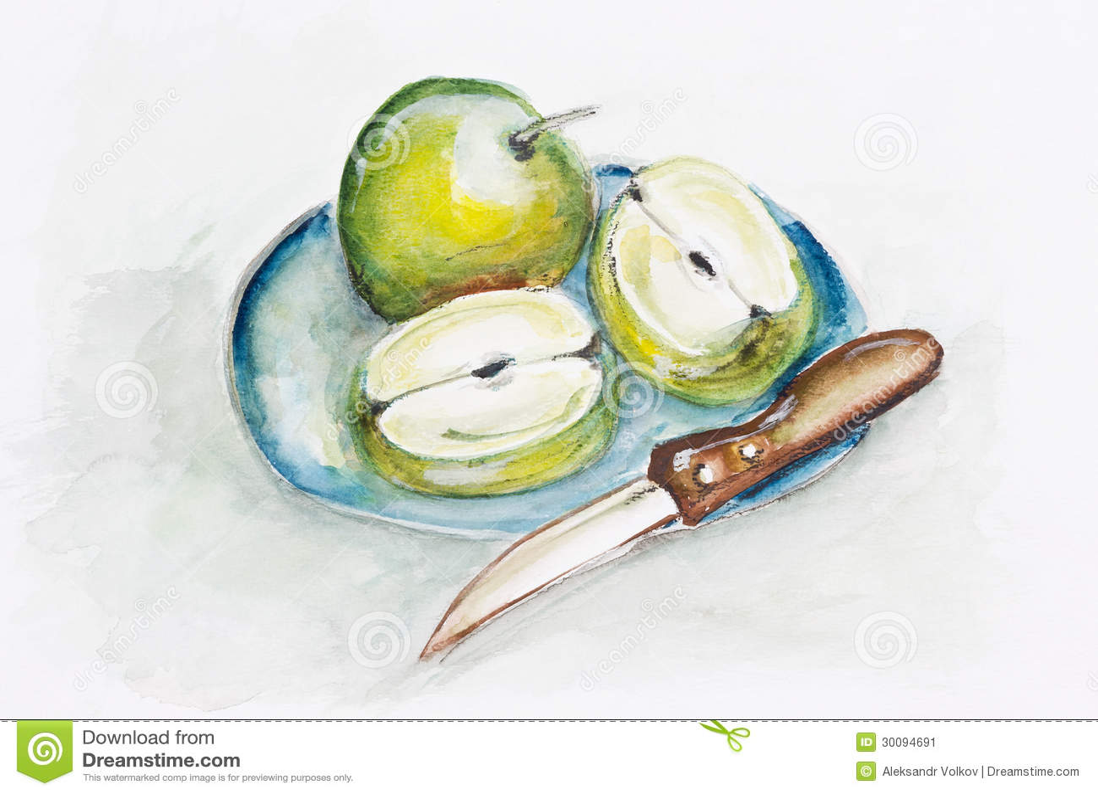 Groene appelen en scherp mes