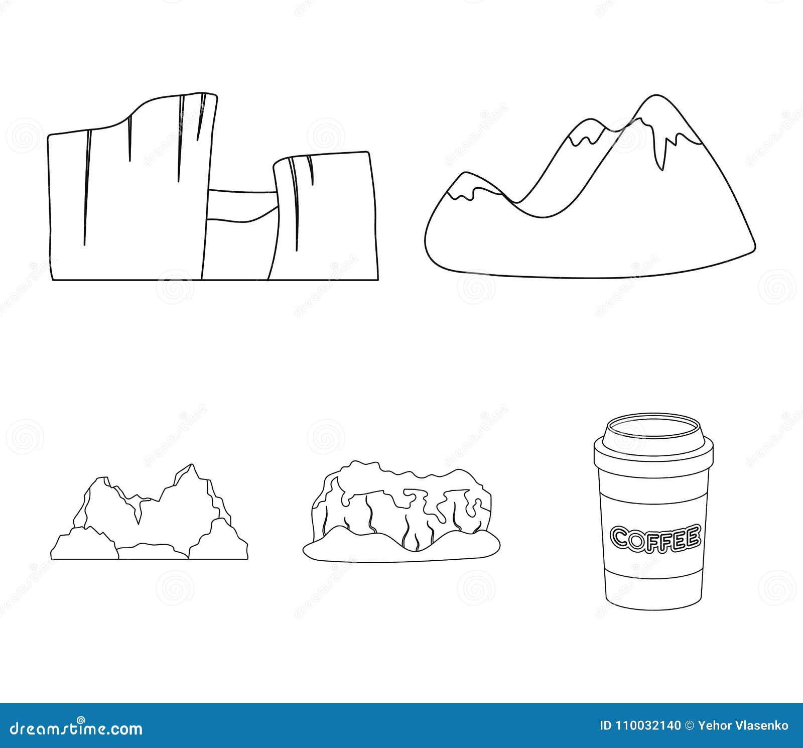 Groene bergen met sneeuwbovenkanten, een canion, rotsen met bossen, een lagune en rotsen Verschillende bergen geplaatst inzamelin