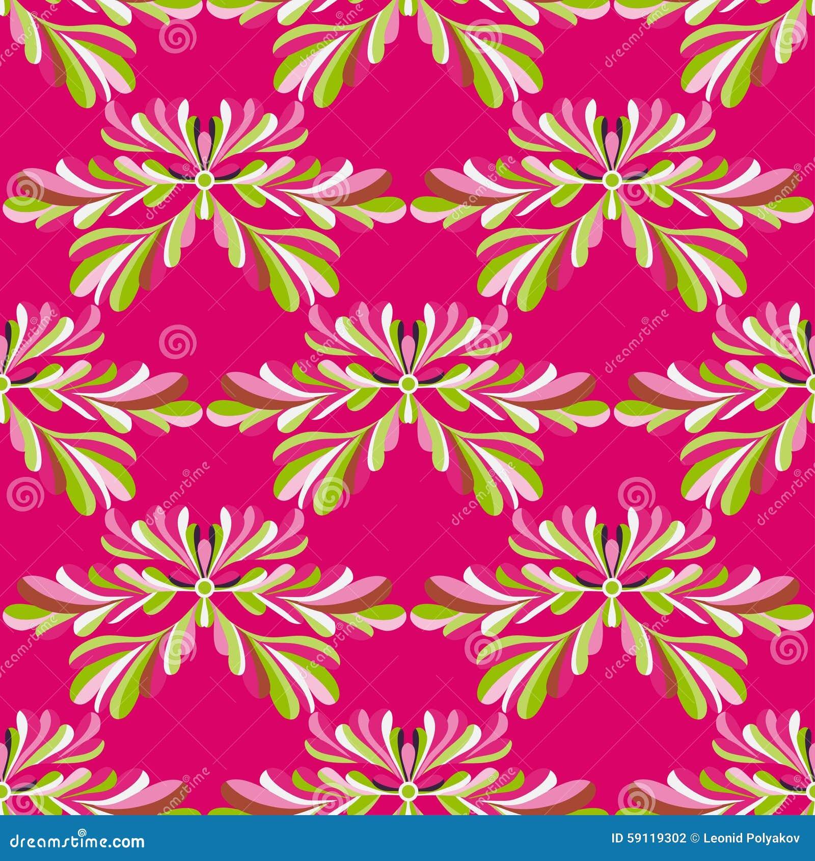 Groene bloemblaadjes van bloemen op een roze vector naadloos patroon als achtergrond