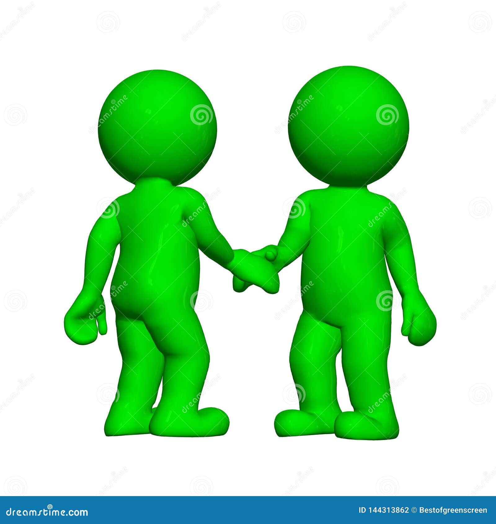 Groene 3D Mensen - Schokhanden - op witte achtergrond