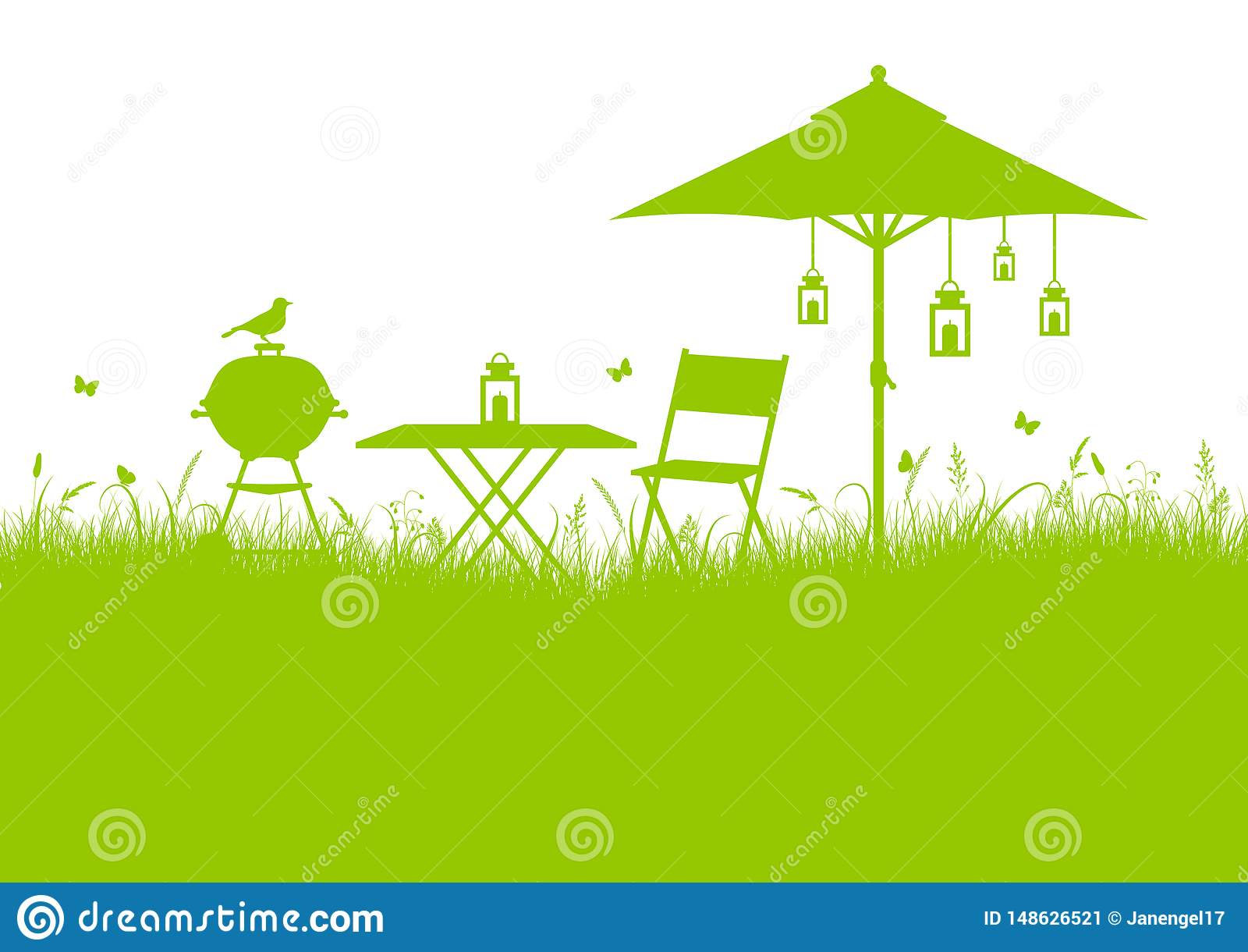 Groene de Barbecueachtergrond van de de zomertuin