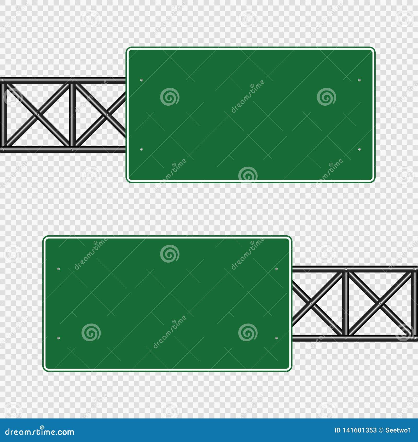 Groene die verkeersteken, de tekens van de Wegraad op transparante achtergrond worden geïsoleerd Vector illustratie Eps 10