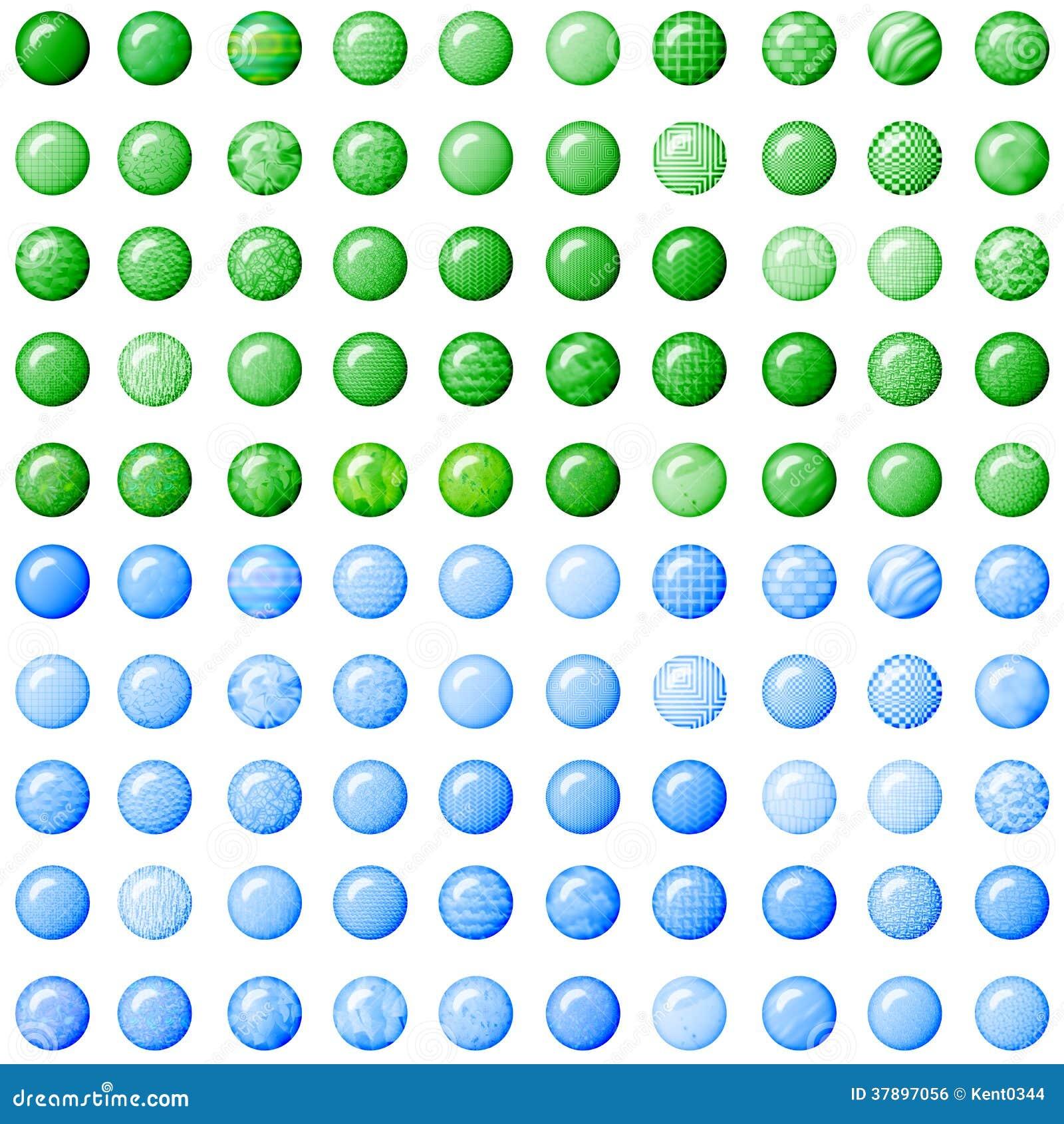 Groene en lichtblauwe knopen