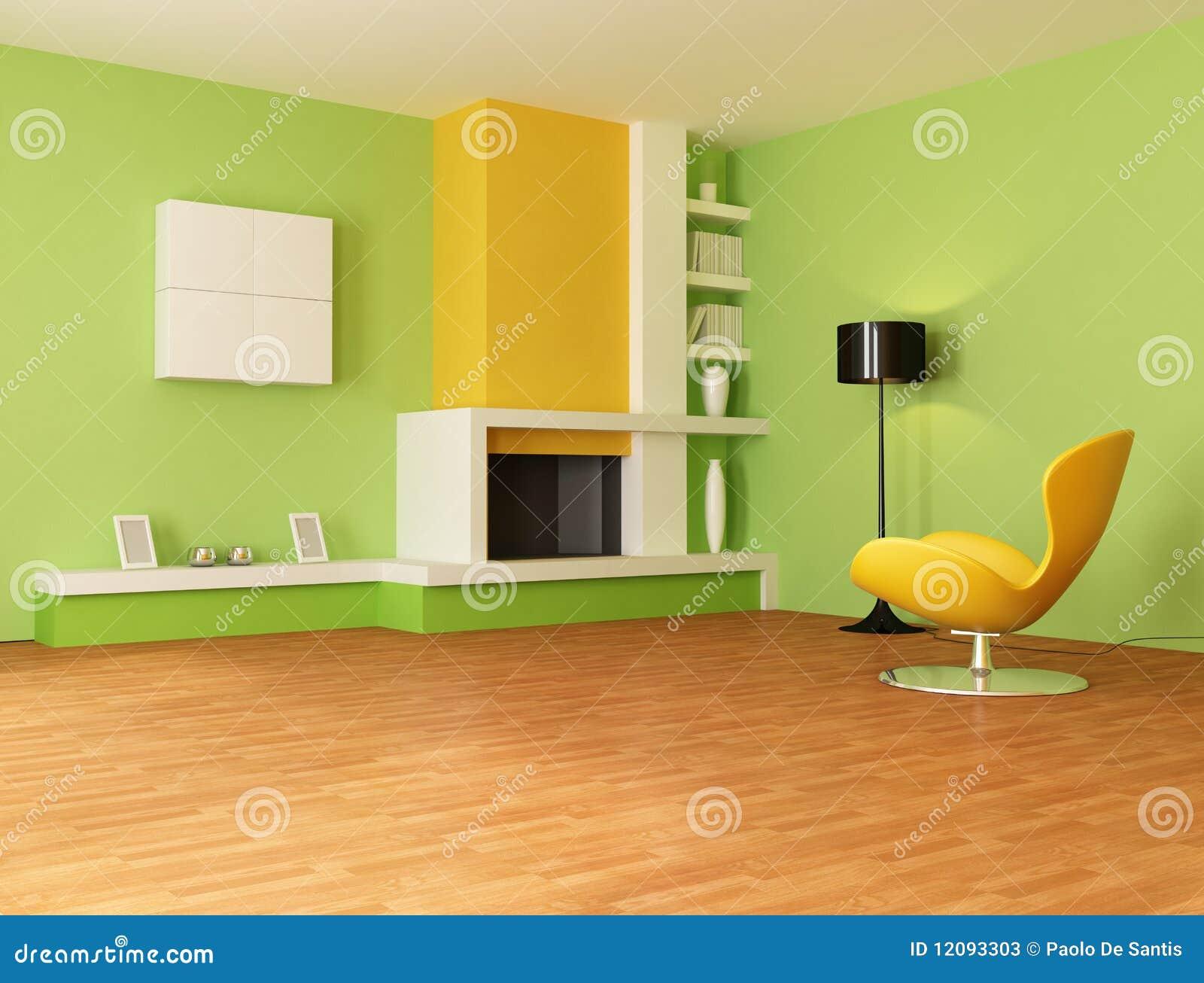 Groene En Oranje Woonkamer Stock Foto's - Afbeelding: 12093303